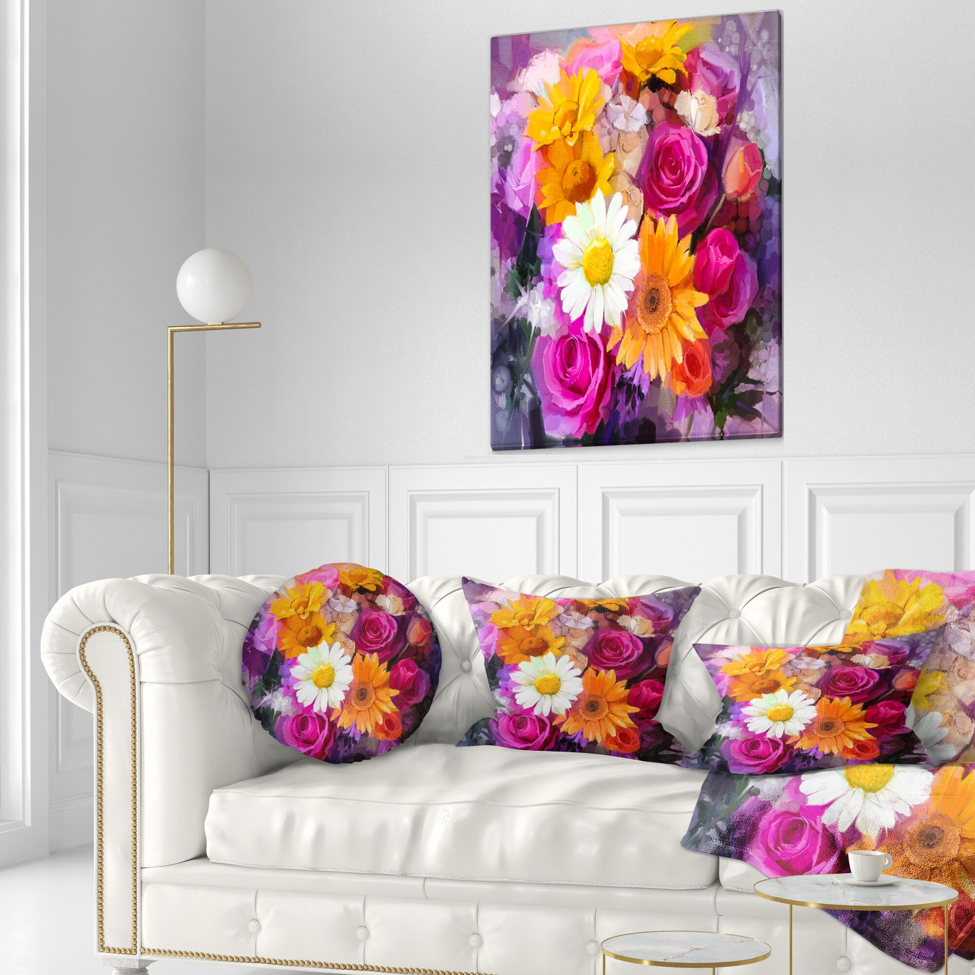 Floral Bouquet of Flowers Watercolor Throw Pillow Size: 16