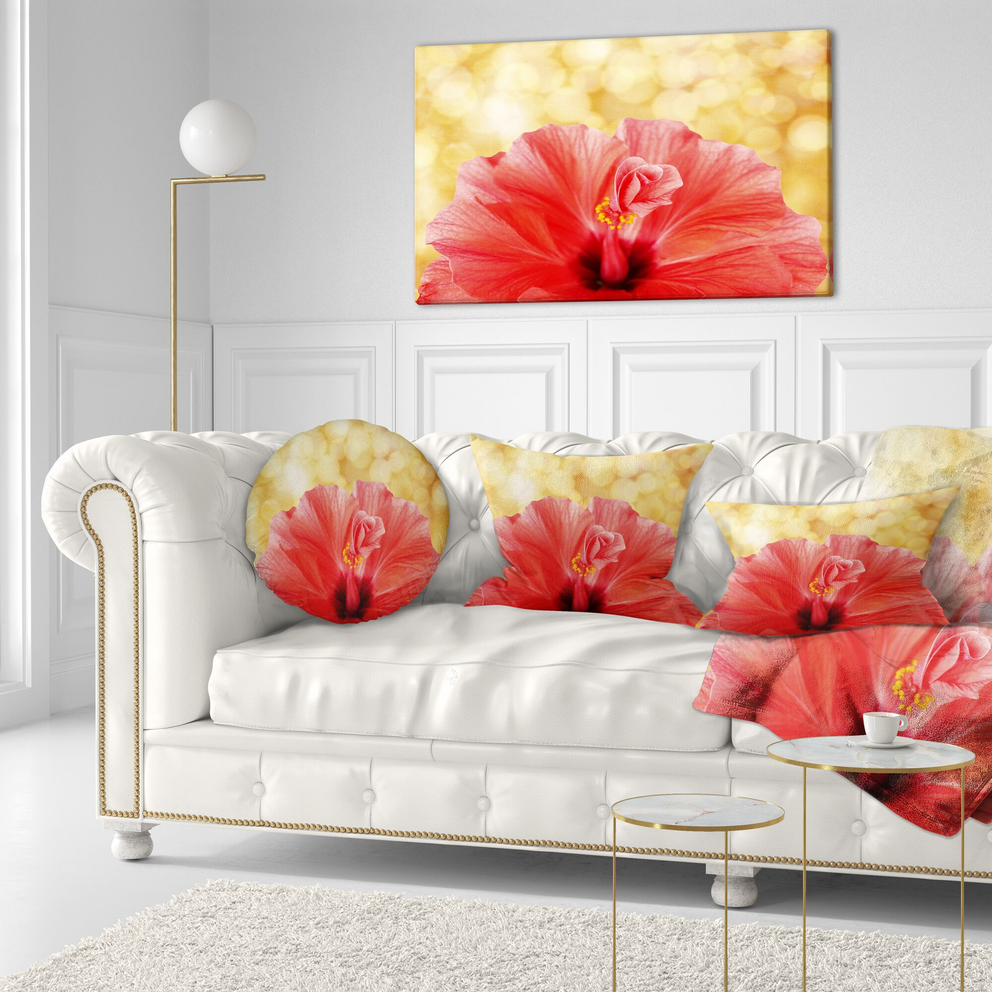 Floral Hibiscus Flower with Lit up Background Throw Pillow Size: 16