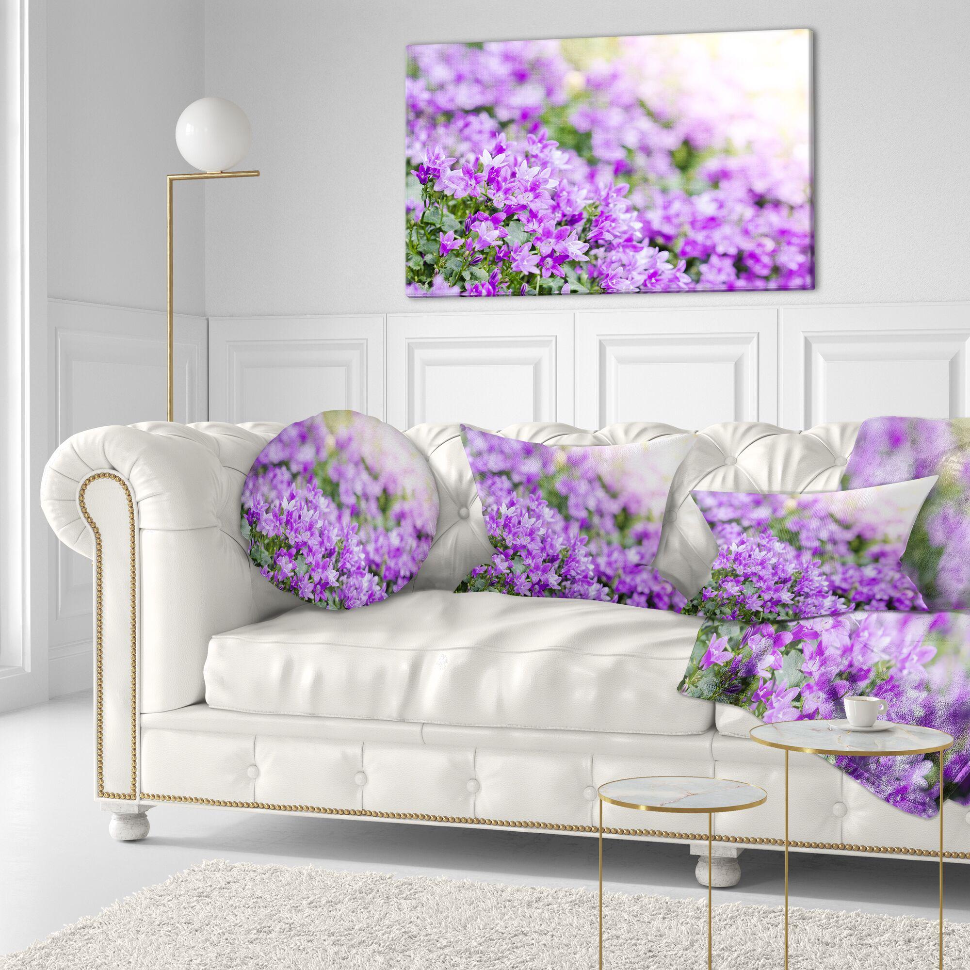 Floral Beautiful Campanula Flower Bouquet Lumbar Pillow