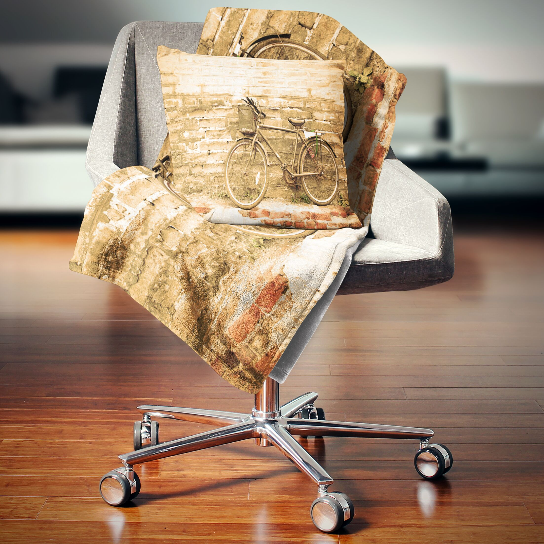 Landscape Printed Bicycle Against Wall Throw Pillow Size: 16