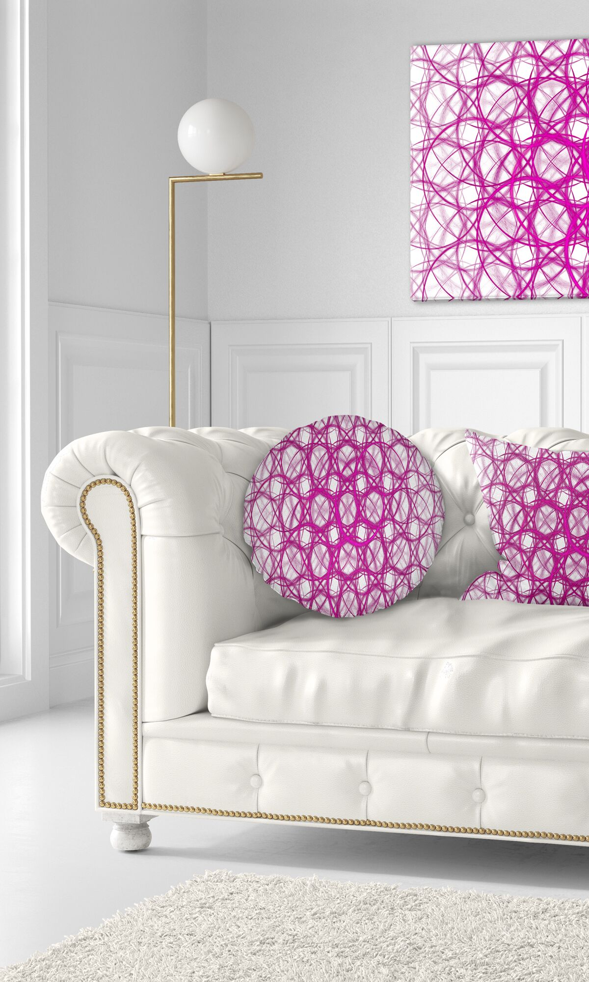 Unusual Fractal Metal Grill Abstract Throw Pillow Color: Pink/White