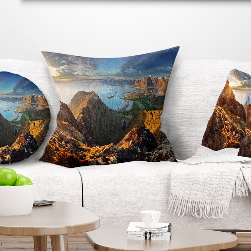 Landscape Ocean and Mountains Panorama Pillow Size: 18