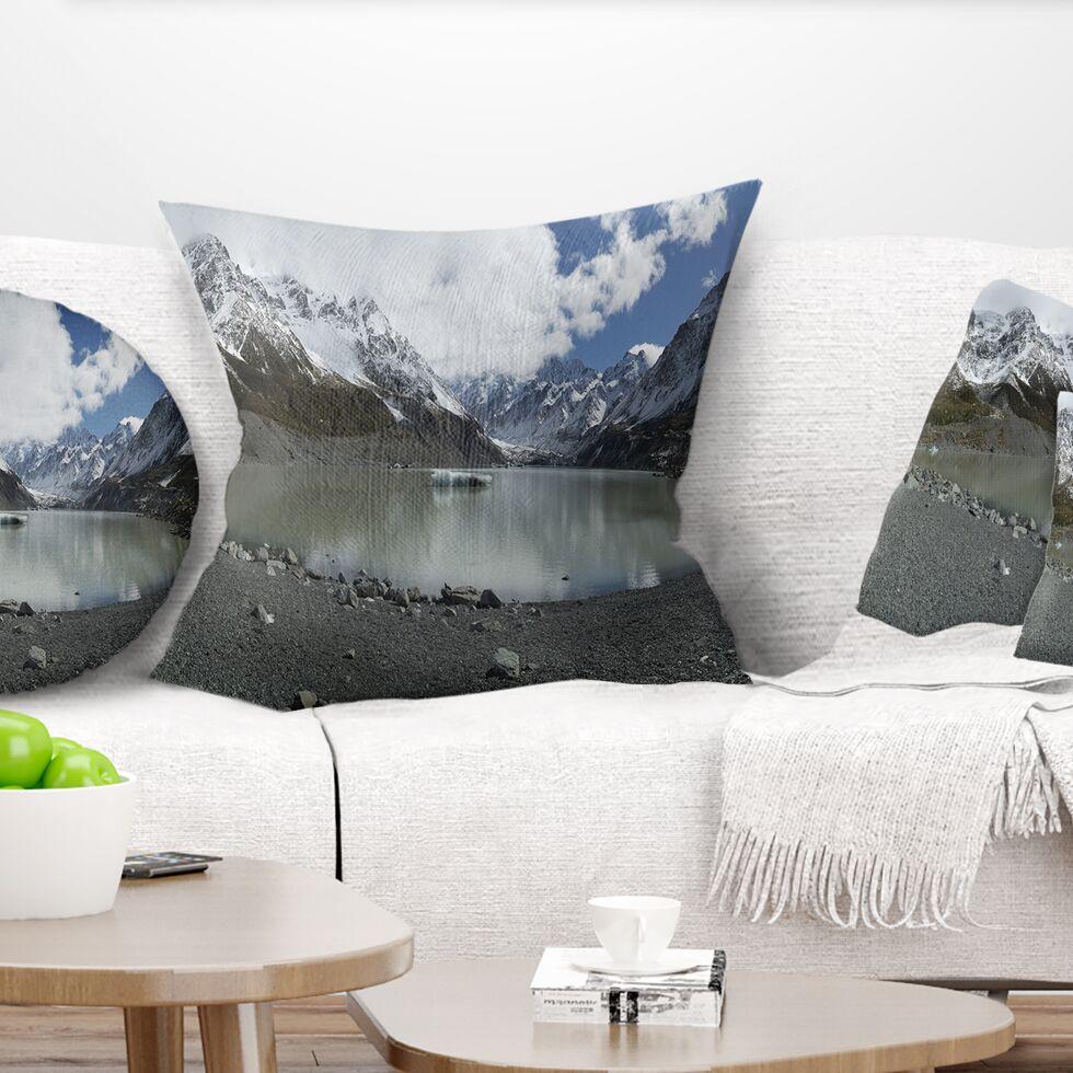 Landscape New Zealand Mountains Panorama Pillow Size: 18