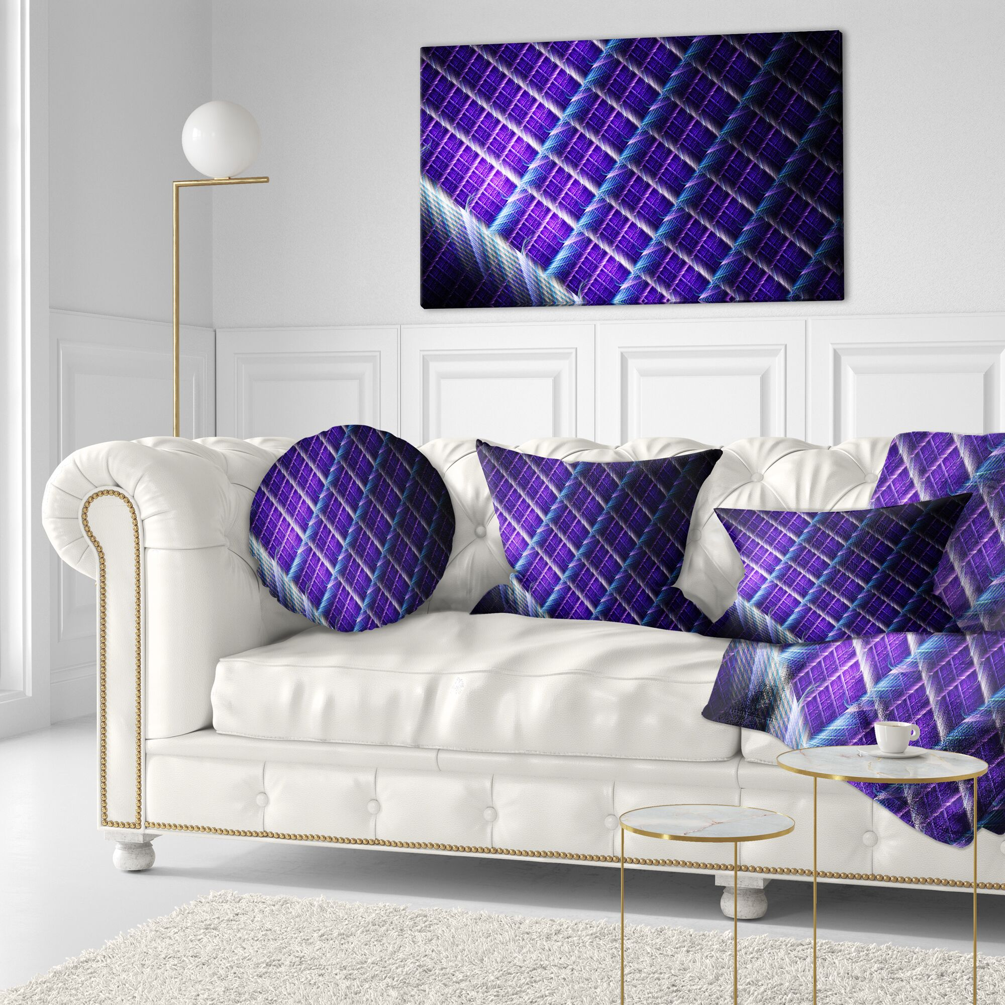 Abstract Light Metal Grill Throw Pillow Size: 20
