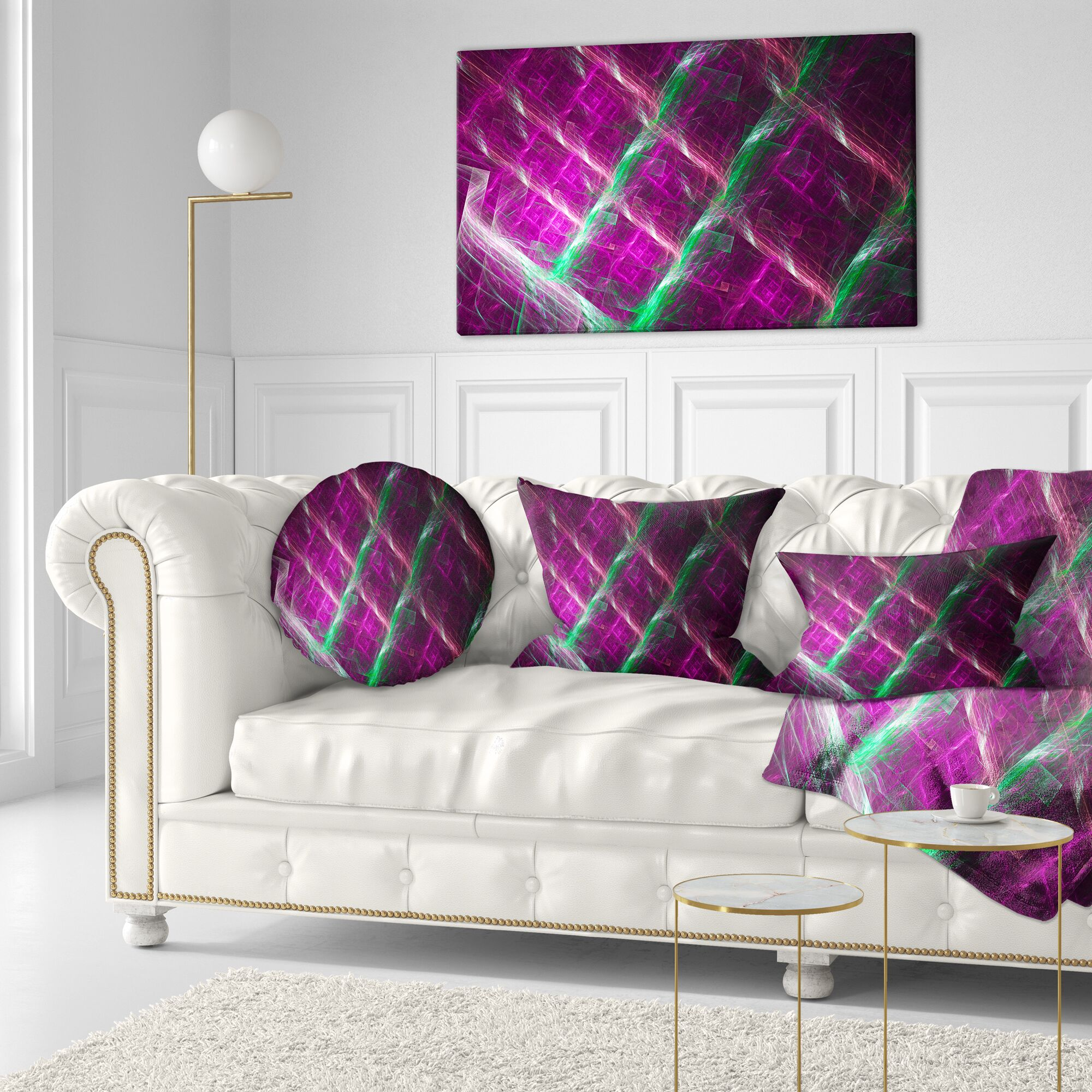 Abstract Fractal Metal Grill Throw Pillow Size: 20