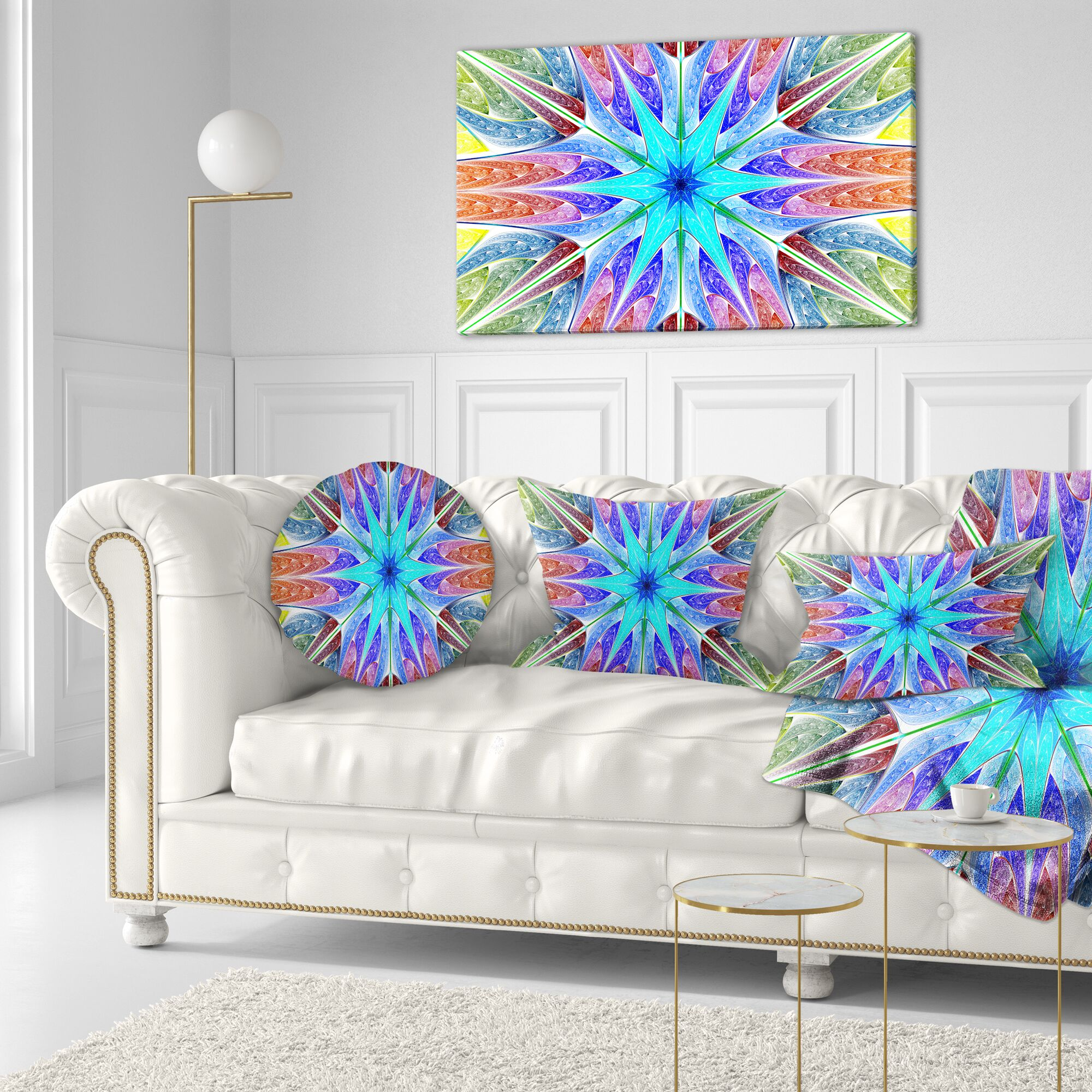 Abstract Fractal Stained Glass Throw Pillow Size: 16