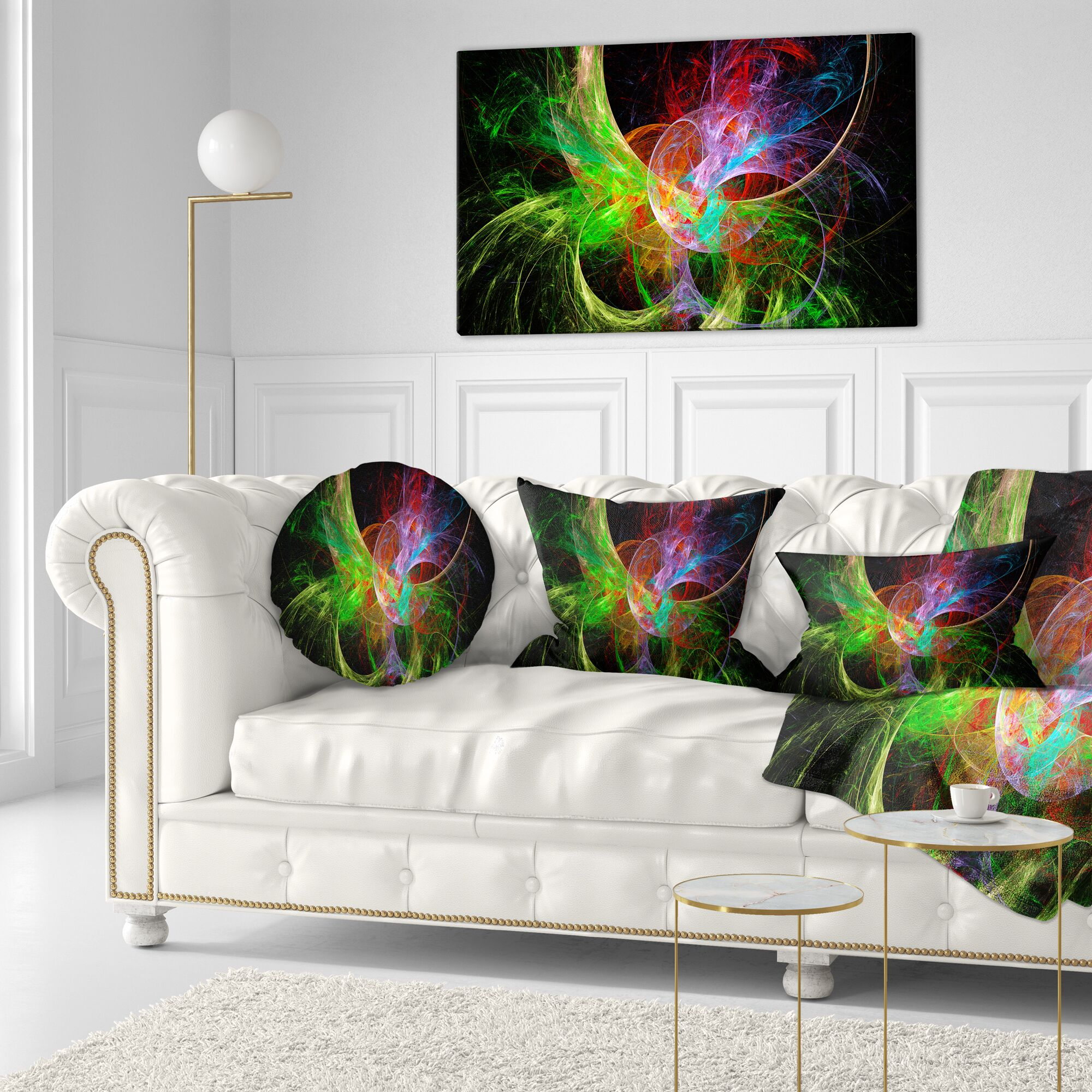 Fractal Abstract Design Throw Pillow Size: 16