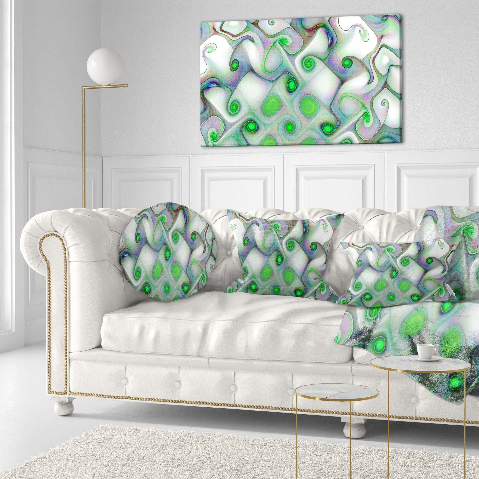 Abstract Pattern with Swirls Throw Pillow Size: 16