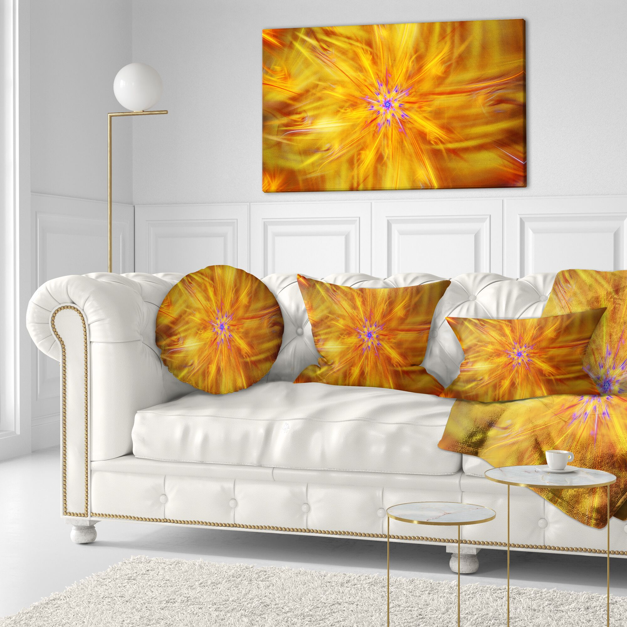 Abstract Glowing Brightest Star Exotic Flower Throw Pillow Size: 20