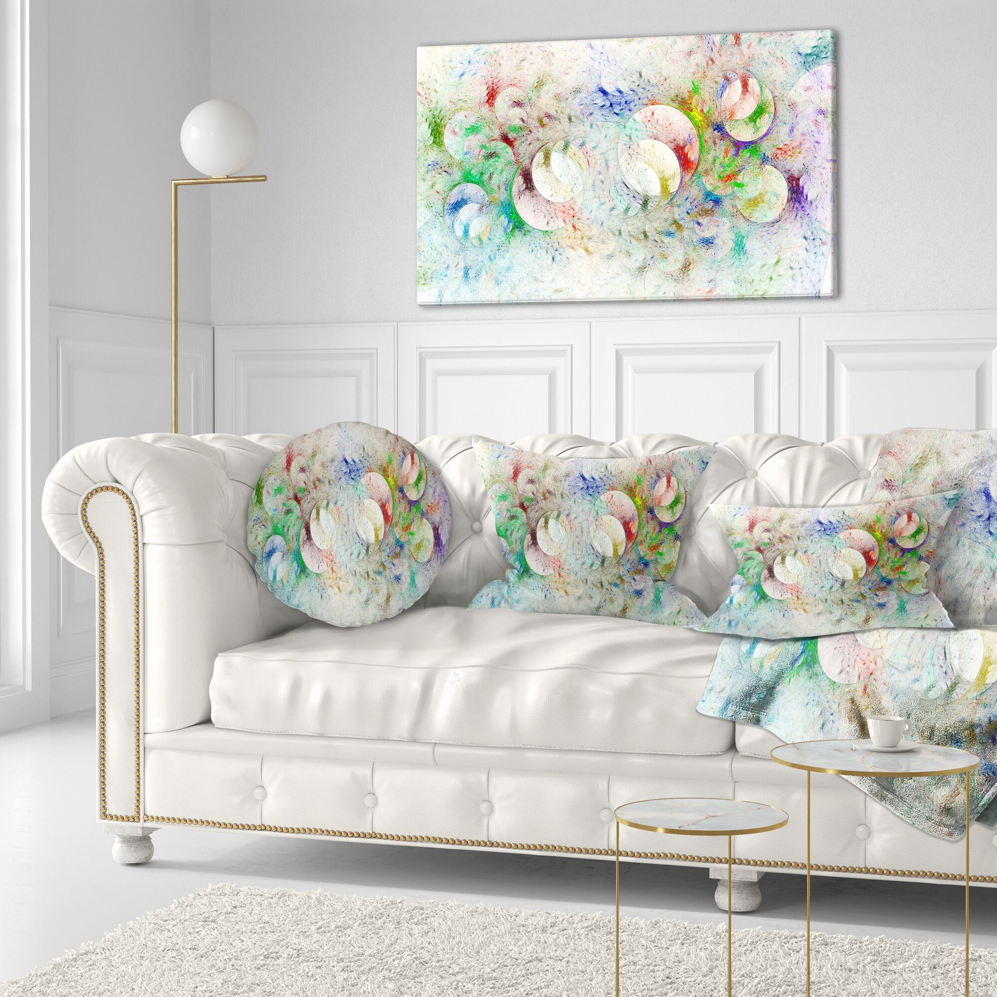Abstract Fractal Ornamental Glass Throw Pillow Size: 20