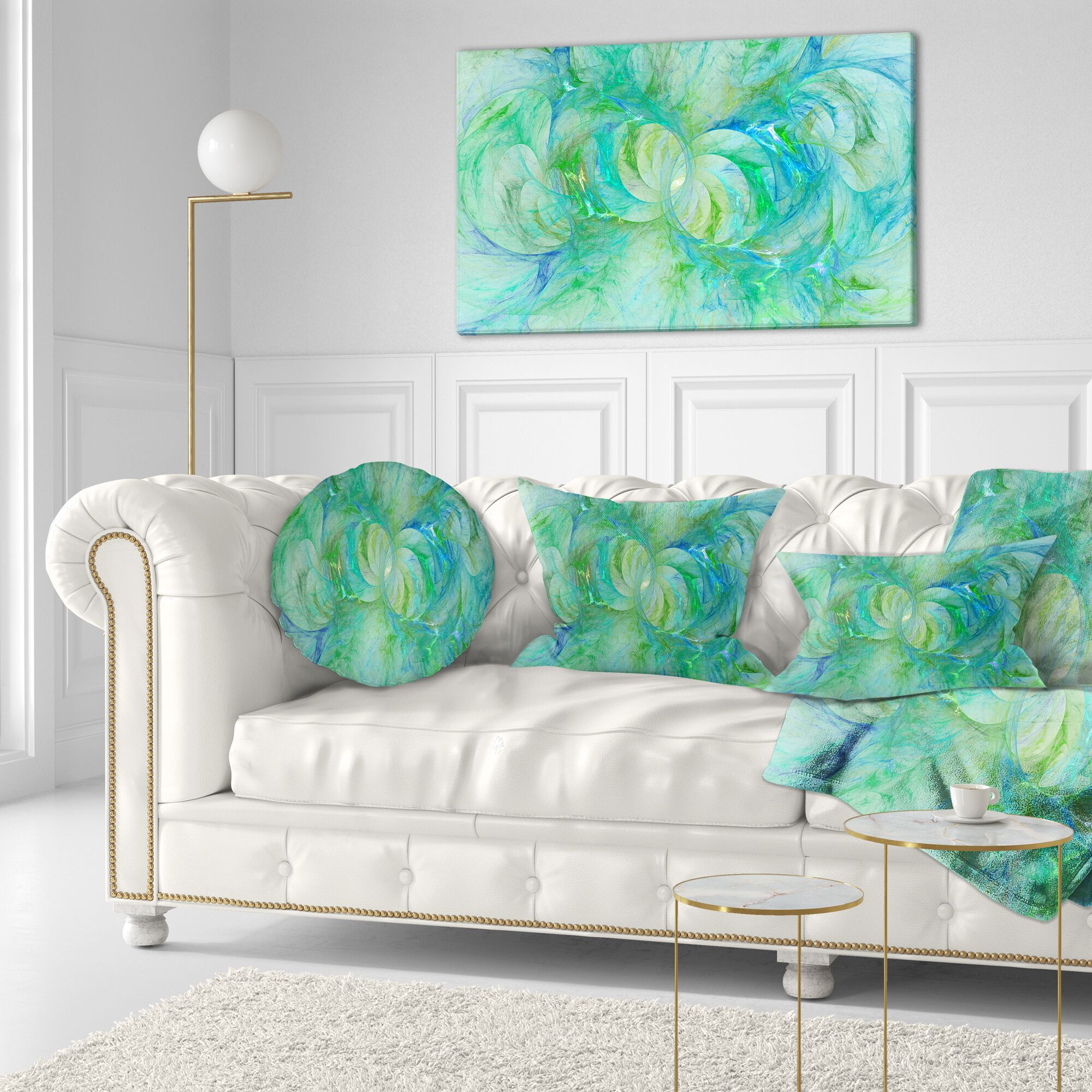 Abstract Snow Fractal Glass Texture Throw Pillow Size: 16