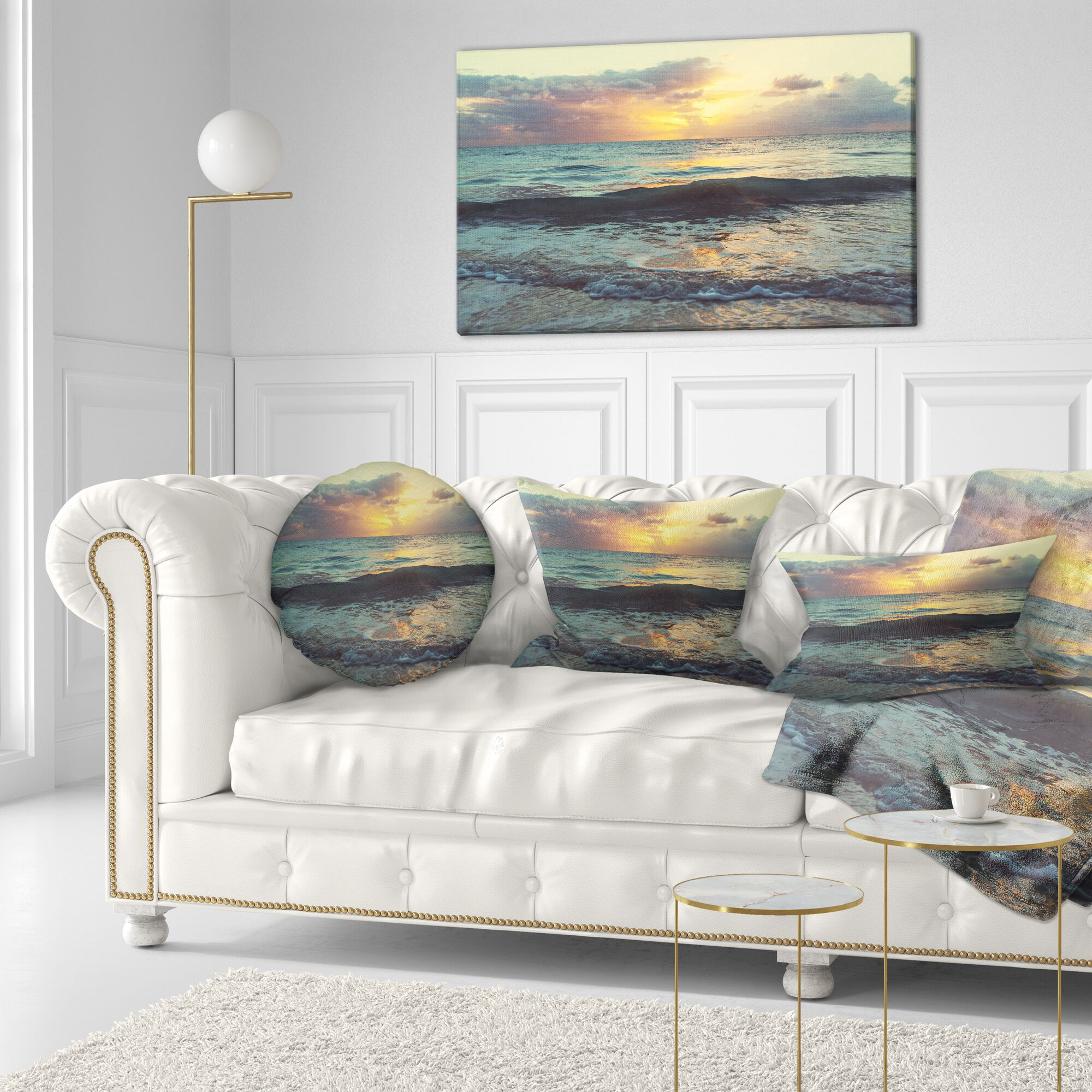 Seascape Colorful Bluish Waters at Sunset Lumbar Pillow