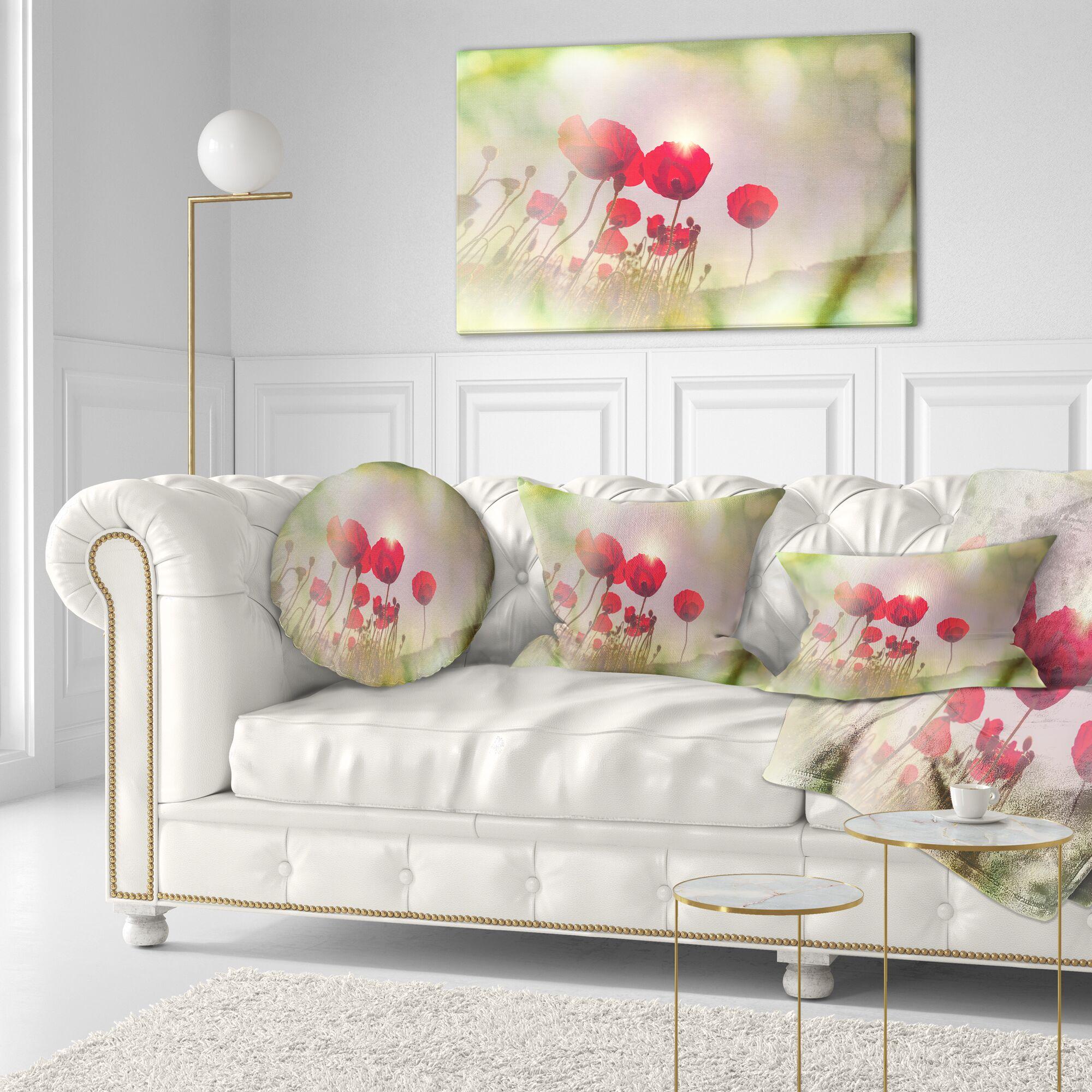 Floral Wild Poppy Flowers Throw Pillow