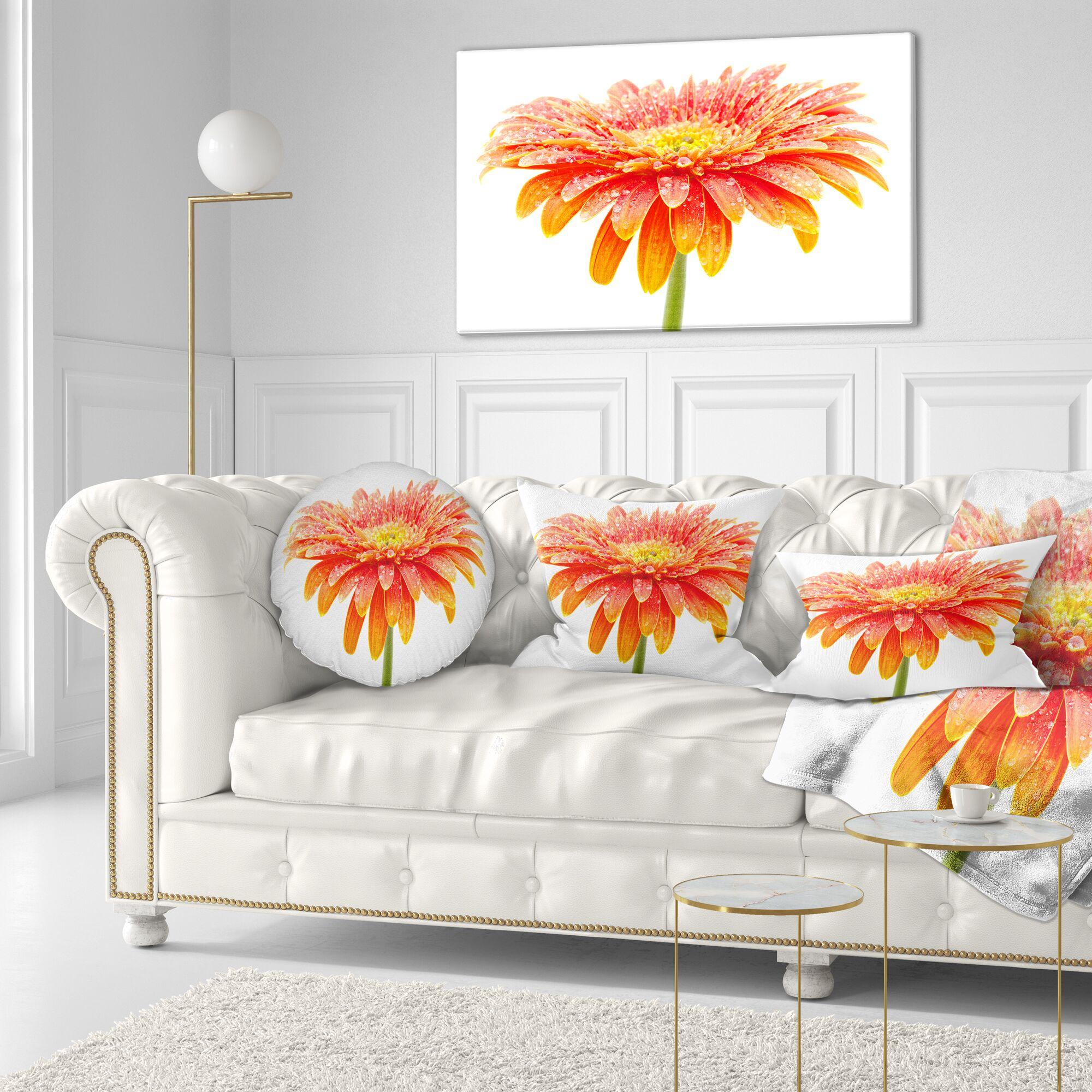 Floral Large Gerbera Throw Pillow
