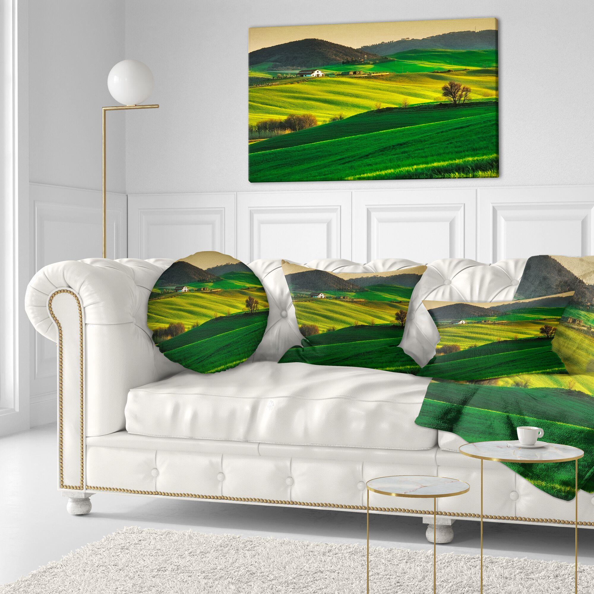 Landscape Trees and Farmland Near Volterra Lumbar Pillow