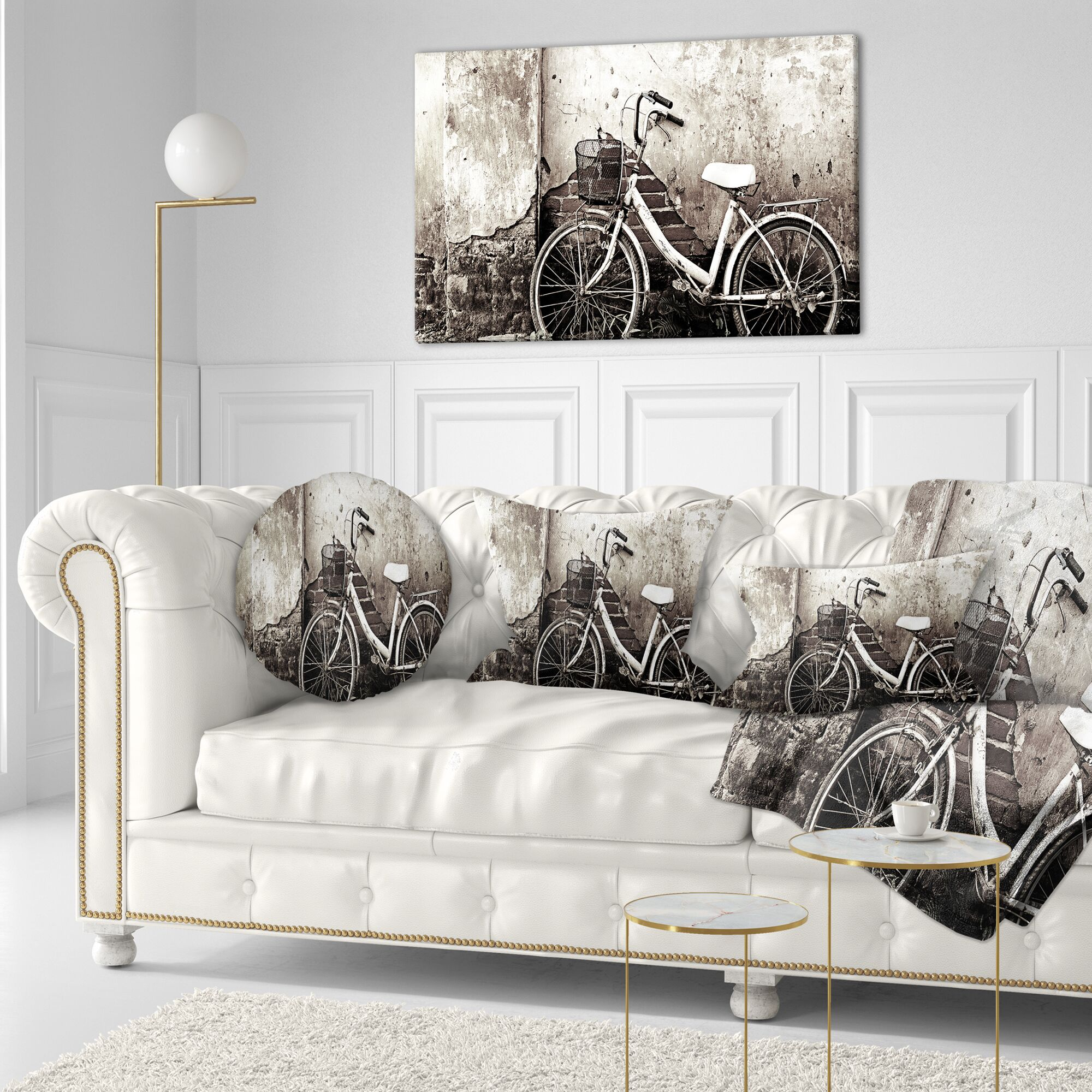 Photography Old Bicycle and Cracked Wall Lumbar Pillow