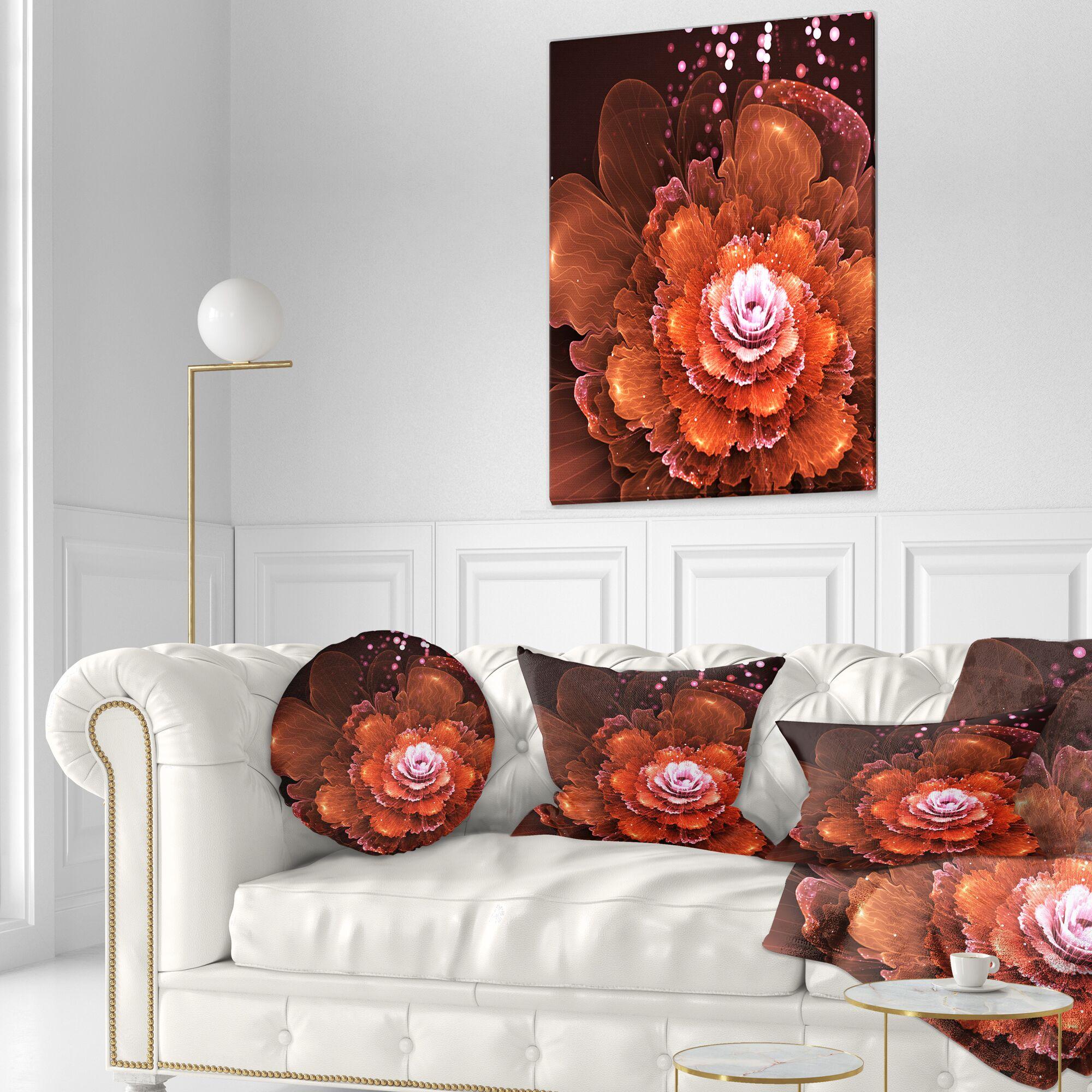 Floral Fractal Flower Lumbar Pillow