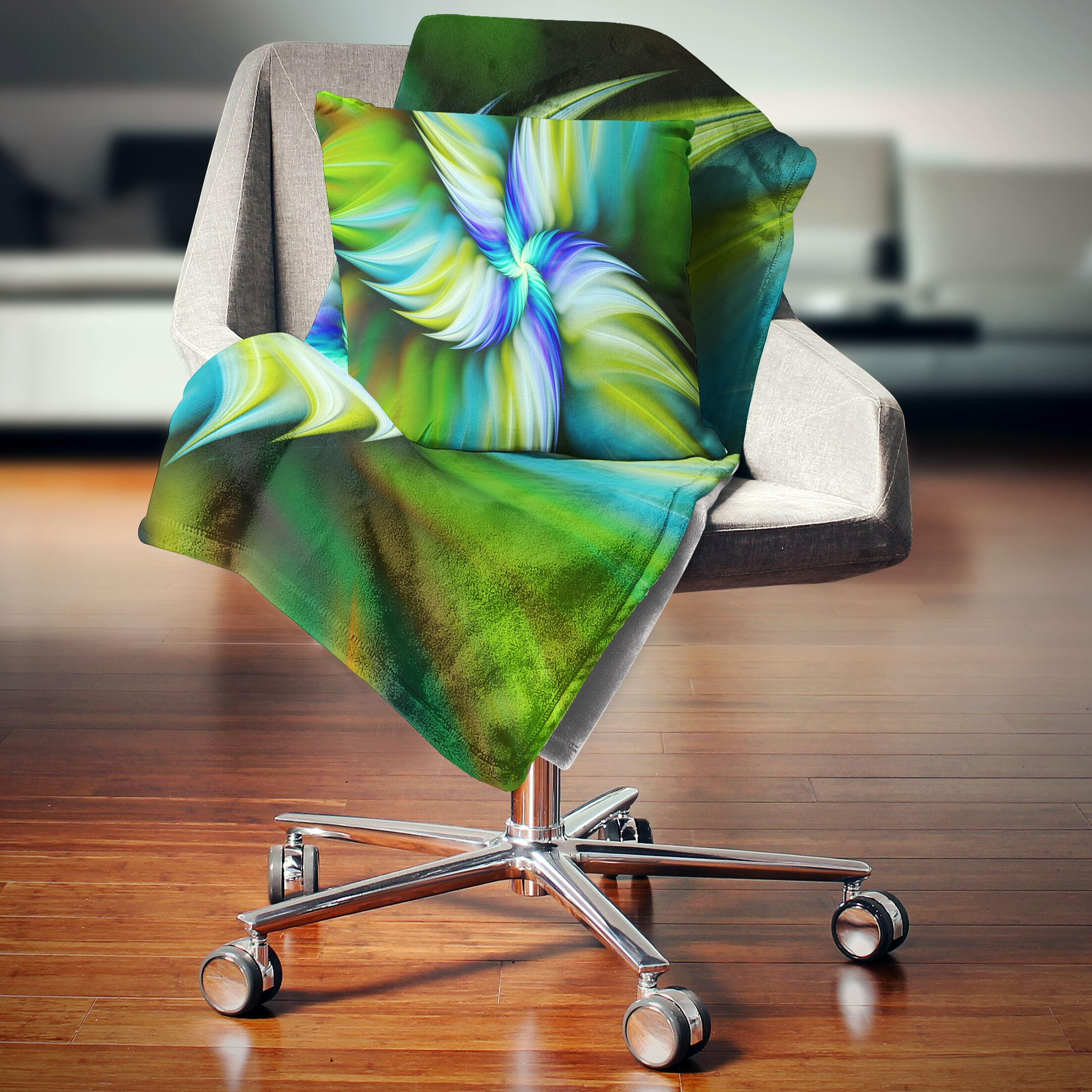 Floral Rotating Fractal Star Pillow Size: 16