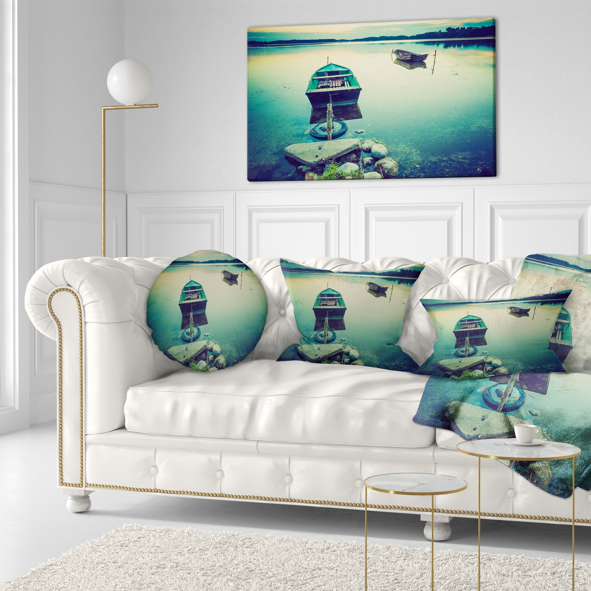 Boats in Style Lake Throw Pillow Size: 16