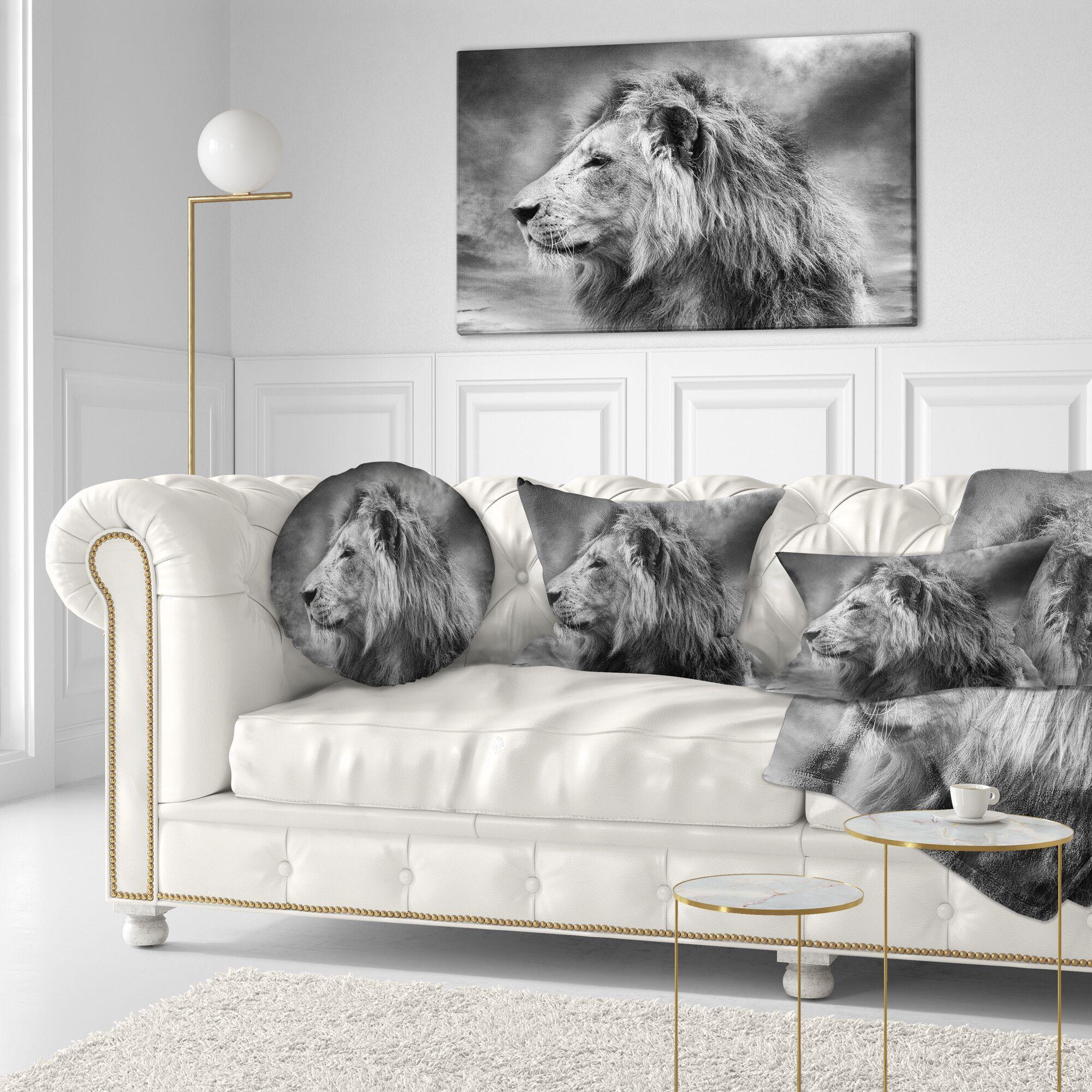 Animal Wild African Lion Throw Pillow Size: 20