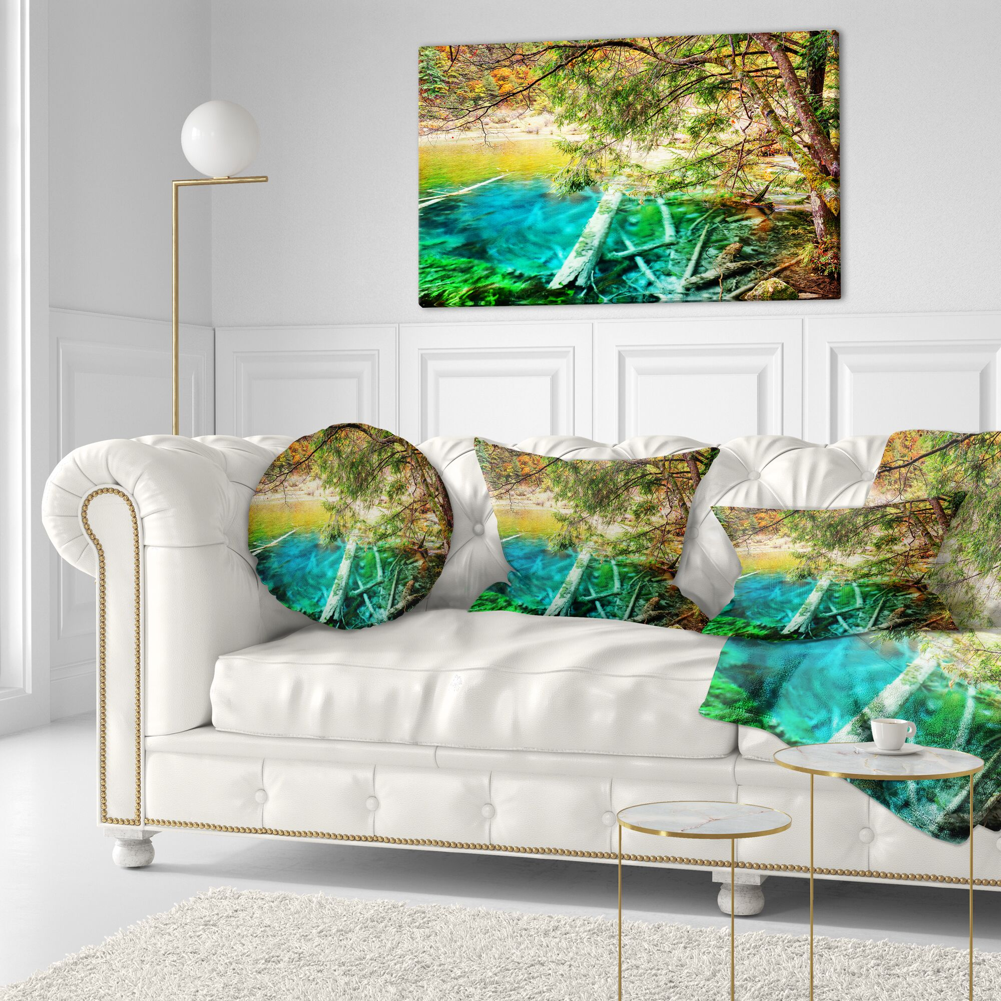 Landscape Printed Colorful Lake with Tree Trunks Lumbar Pillow
