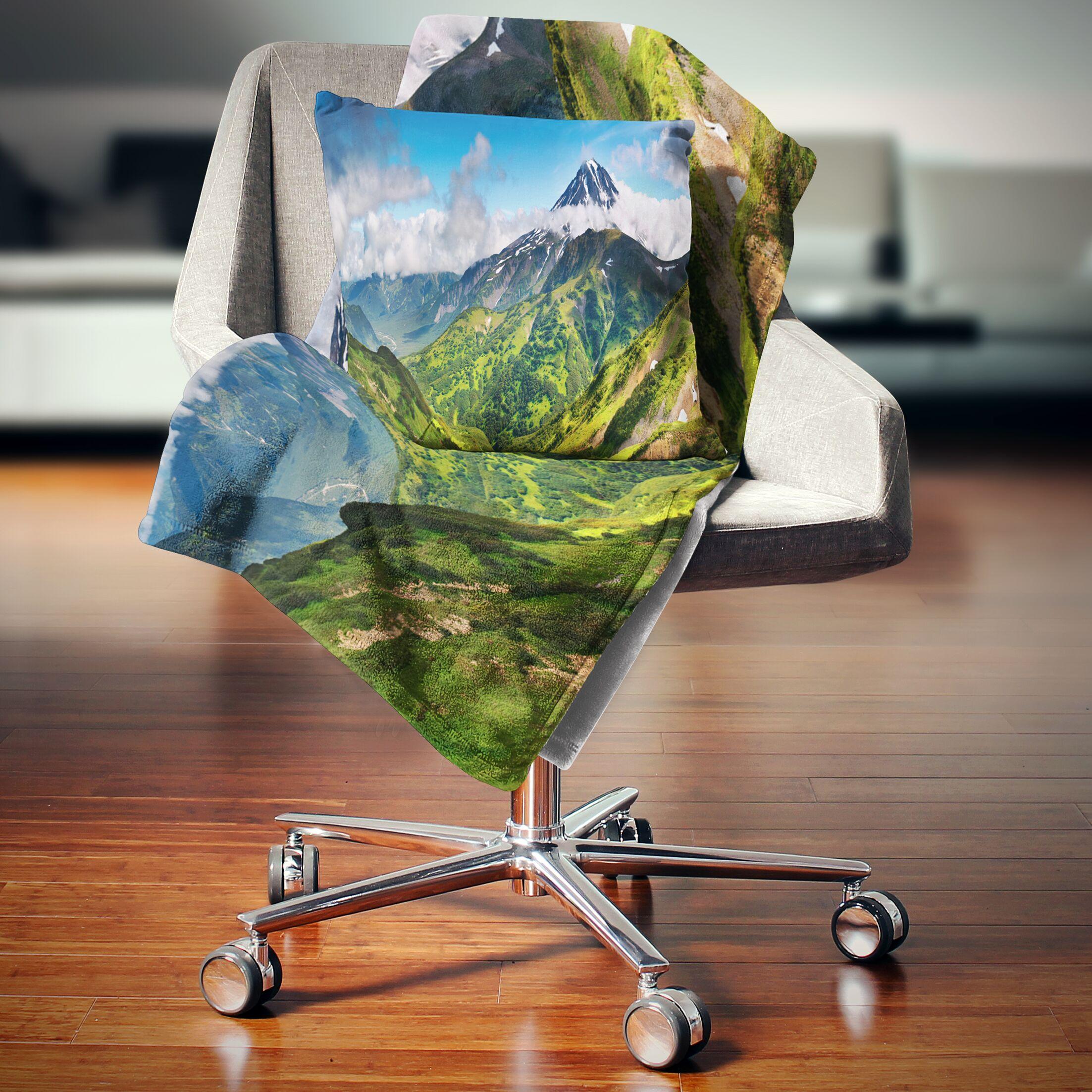 Landscape Printed Beautiful Mountains Panorama Pillow Size: 26
