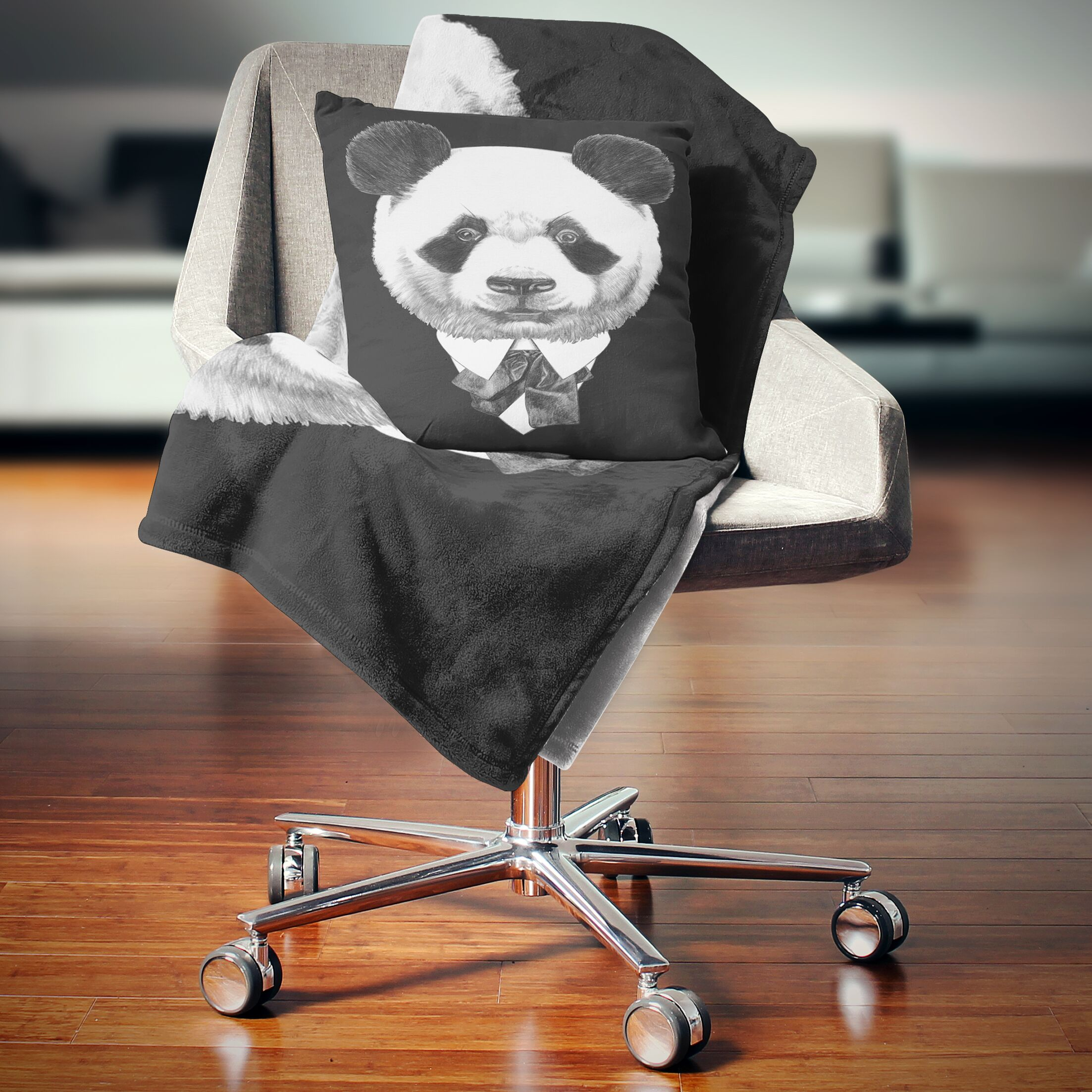 Animal Funny Panda in Suit and Tie Pillow Size: 26