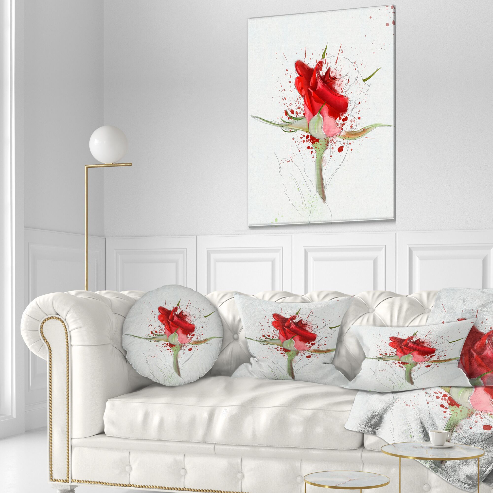 Floral Bright Hand Drawn Rose Sketch Throw Pillow Size: 20