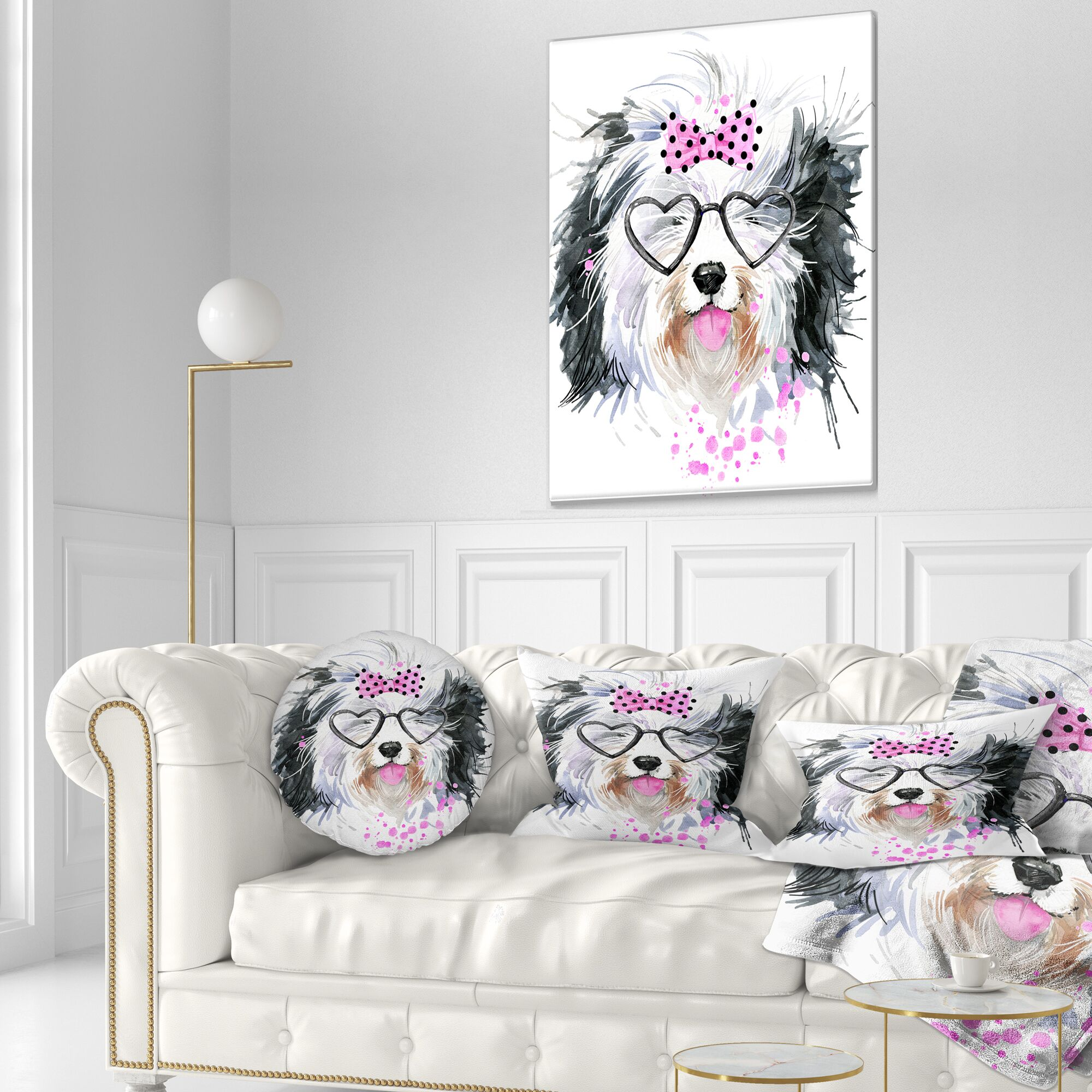 Animal Cute Dog with Heart Glasses Throw Pillow Size: 20