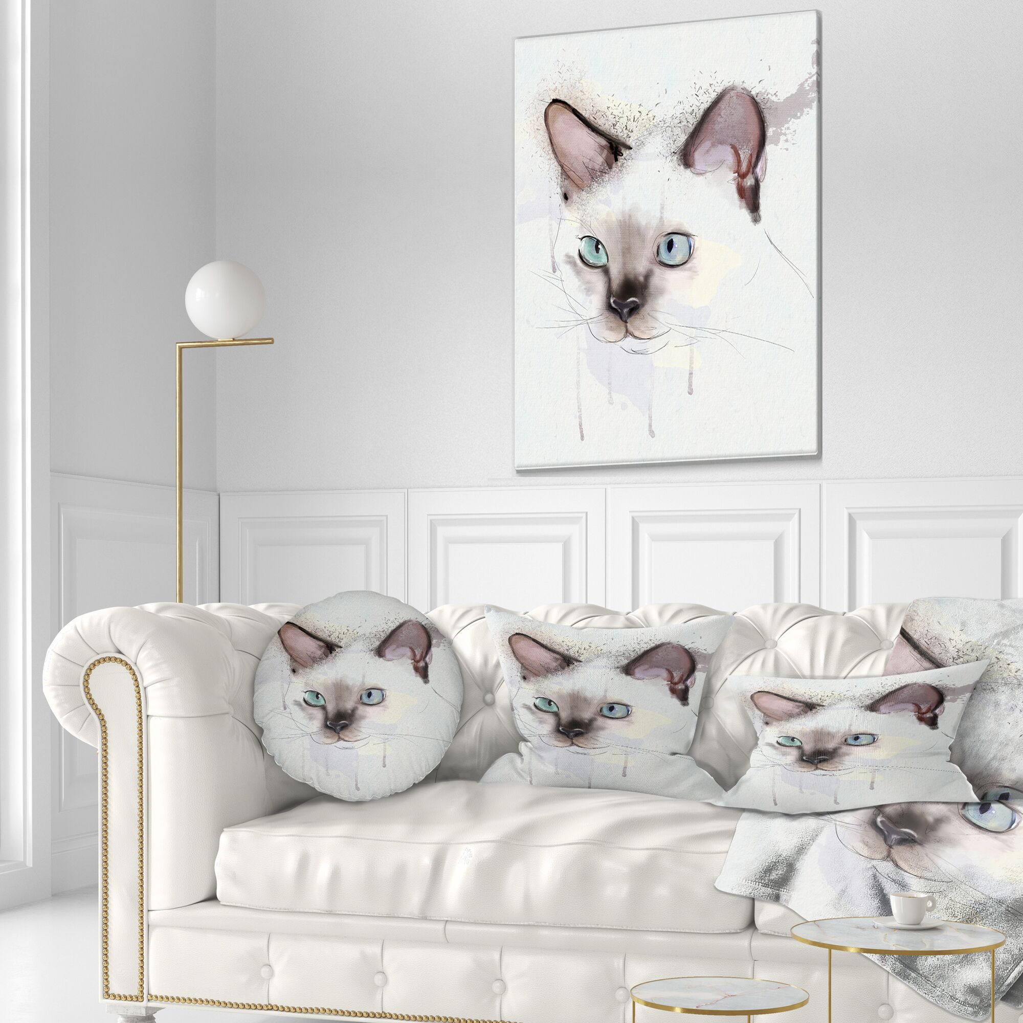 Animal Cute Hand Drawn Cat Watercolor Throw Pillow Size: 16