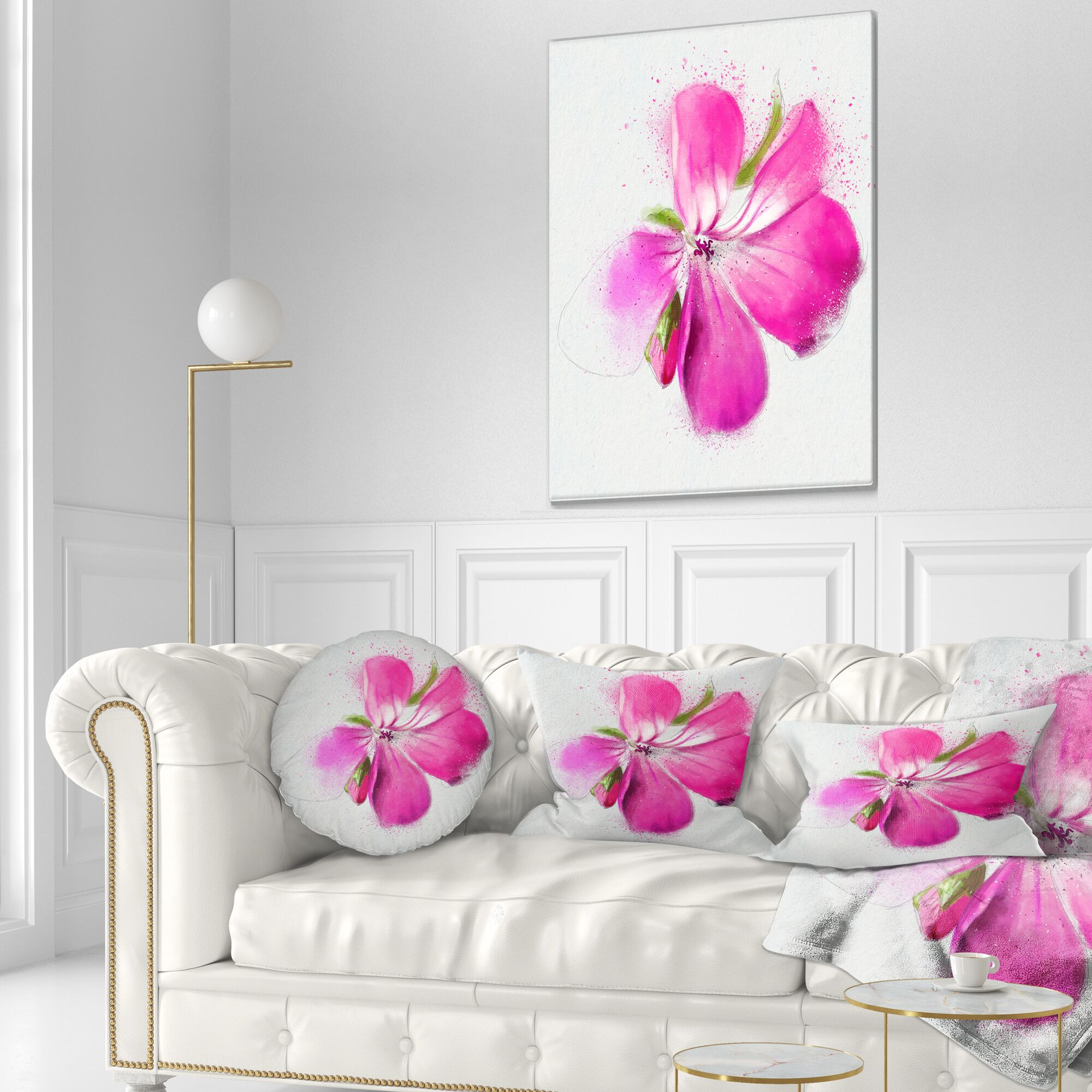 Floral Full Bloom Flower Watercolor Throw Pillow Size: 16