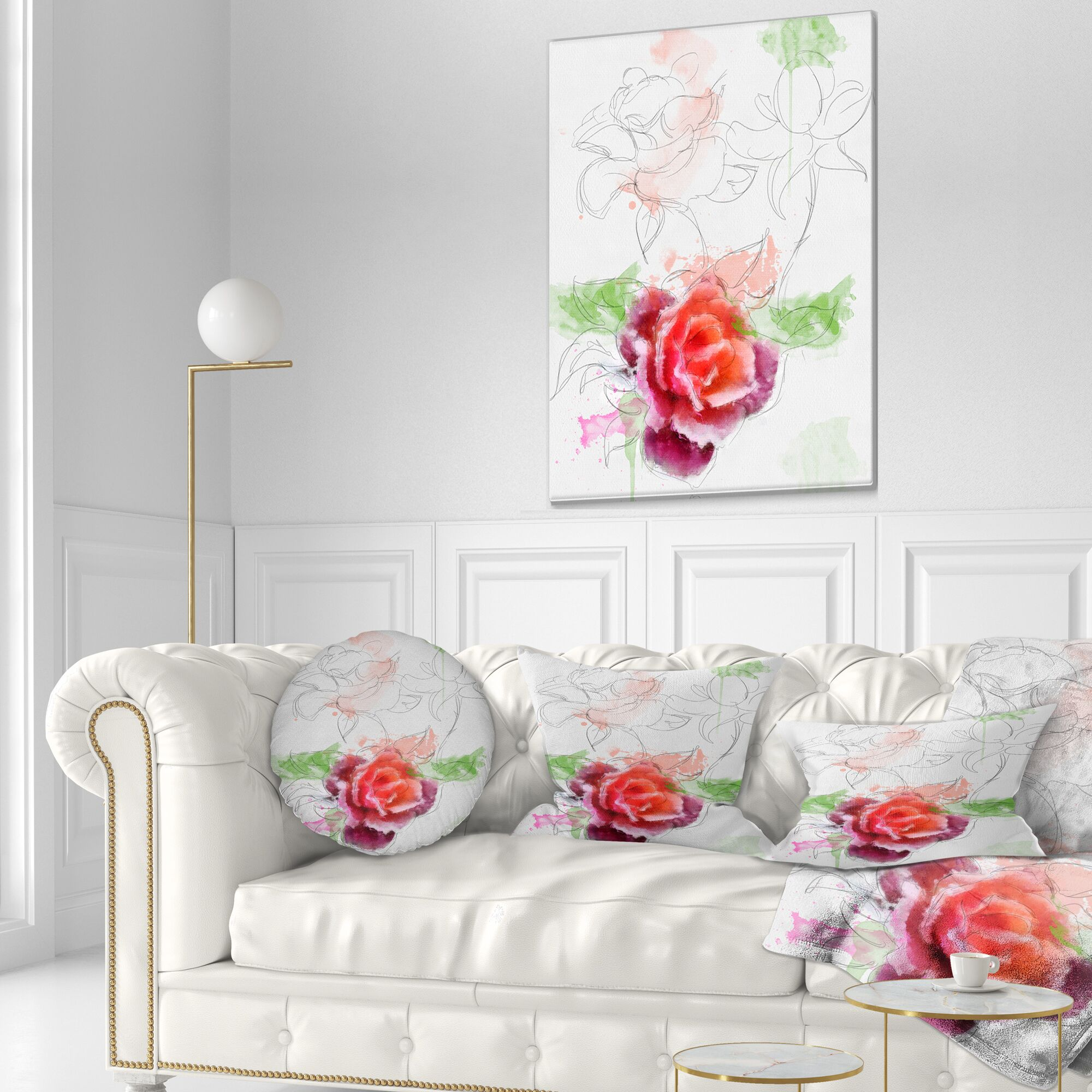 Floral Beautiful Rose with Rose Sketches Throw Pillow Size: 20