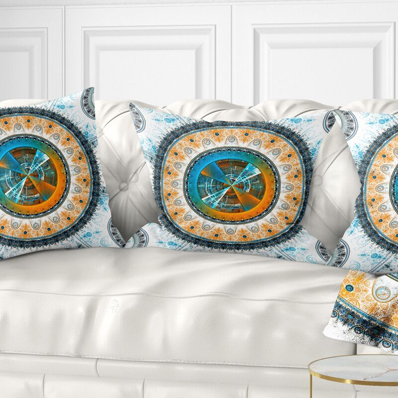 Abstract Large Rounded Symmetrical Flower Pillow Size: 18