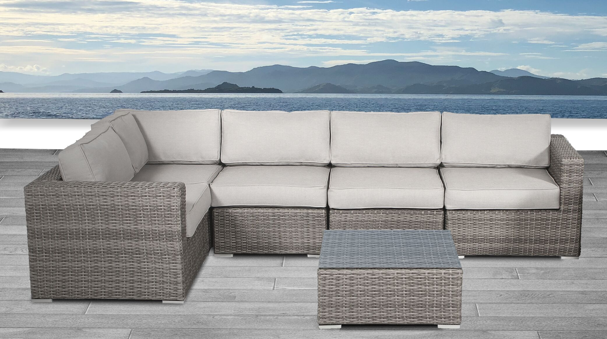 Whitmer 6 Piece Rattan Sectional Seating Group with Cushions Frame Color: Gray