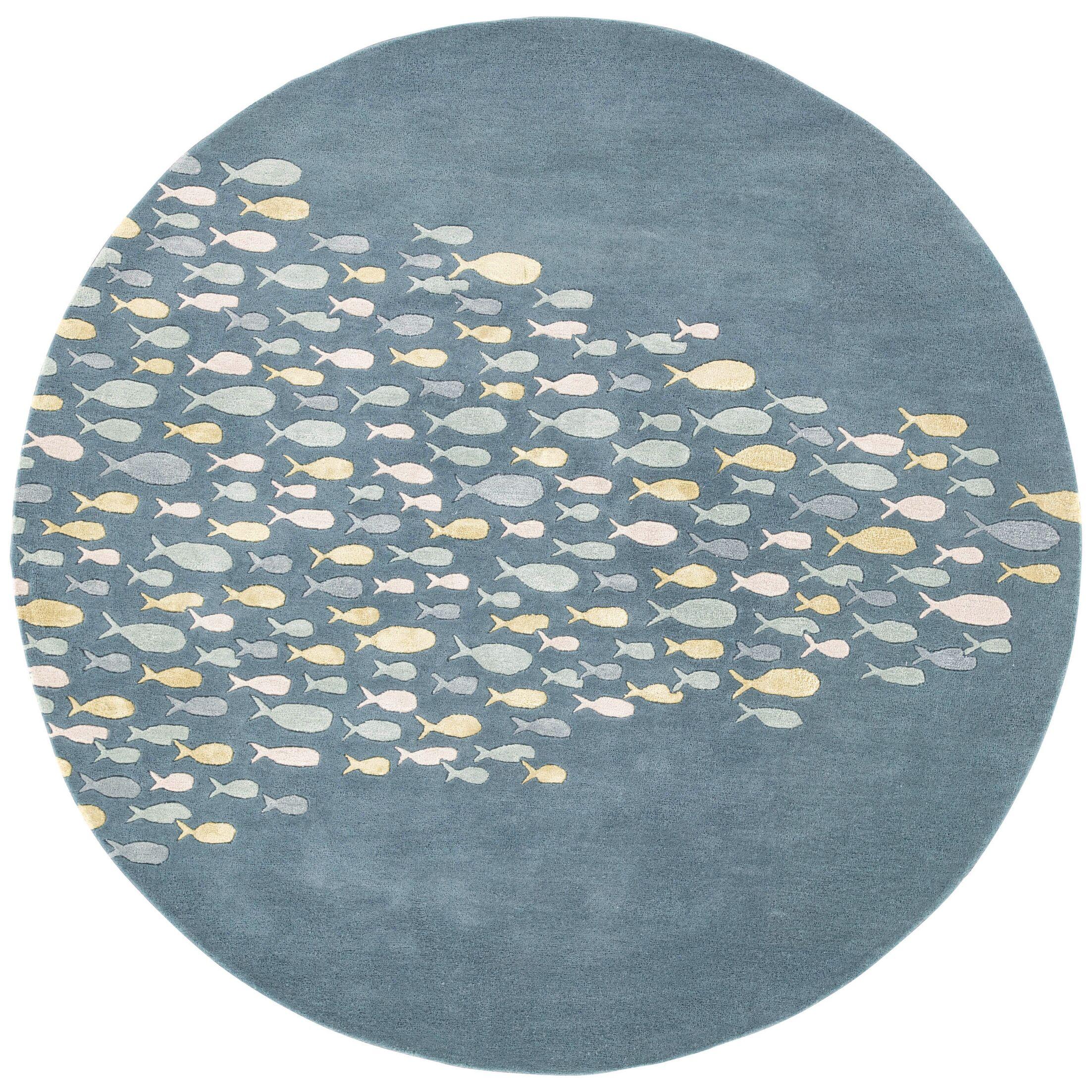 Nottingham Blue/Harbor Gray Area Rug Rug Size: Round 8' x 8'