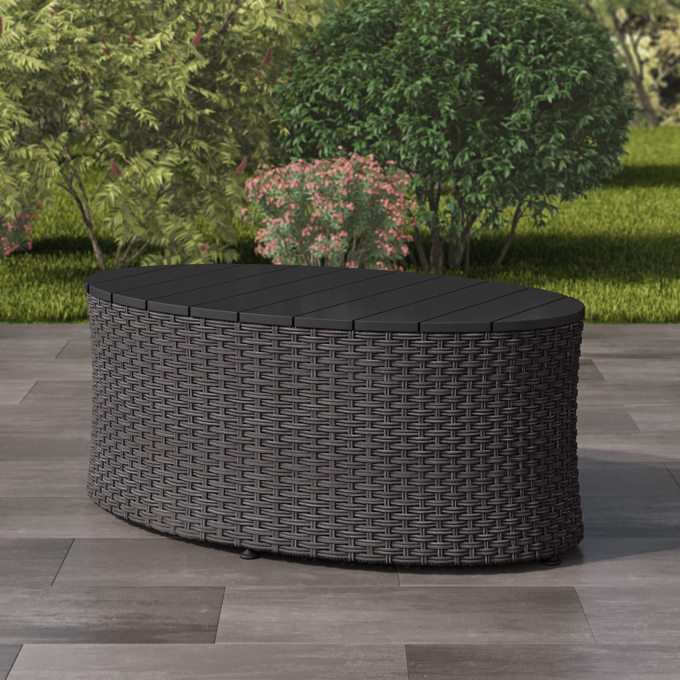 Costanzo Weather Resistant Resin Wicker Coffee Table Color: Distressed Charcoal Grey
