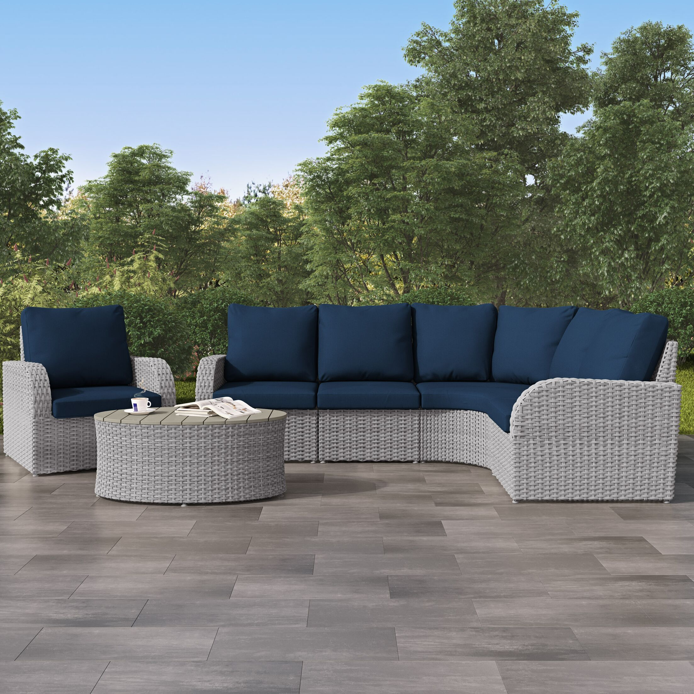 Costanzo 6 Piece Rattan Sectional Set with Cushions Color: Navy Blue