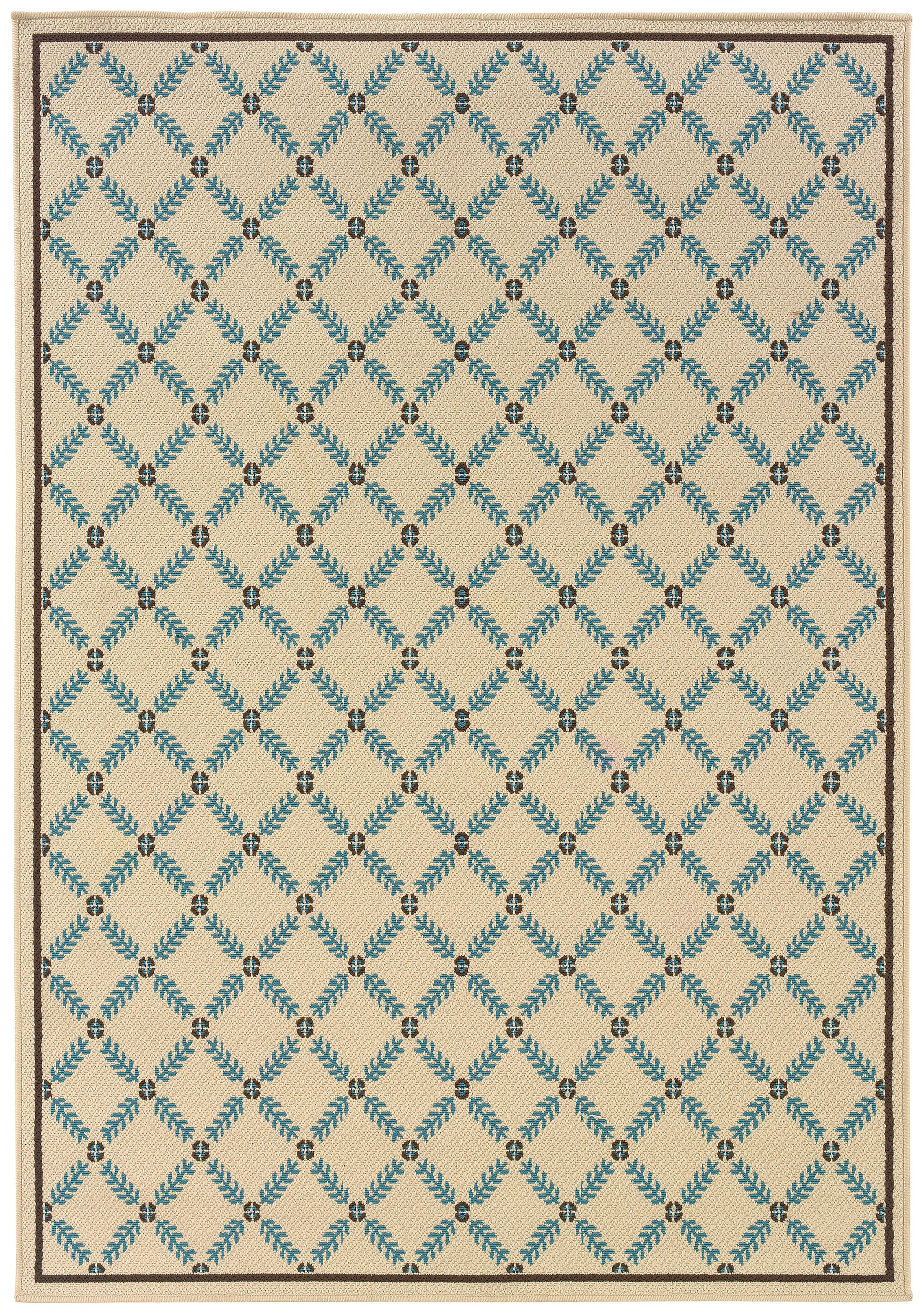 Newfield Ivory/Blue Indoor/Outdoor Area Rug Rug Size: Rectangle 7'10