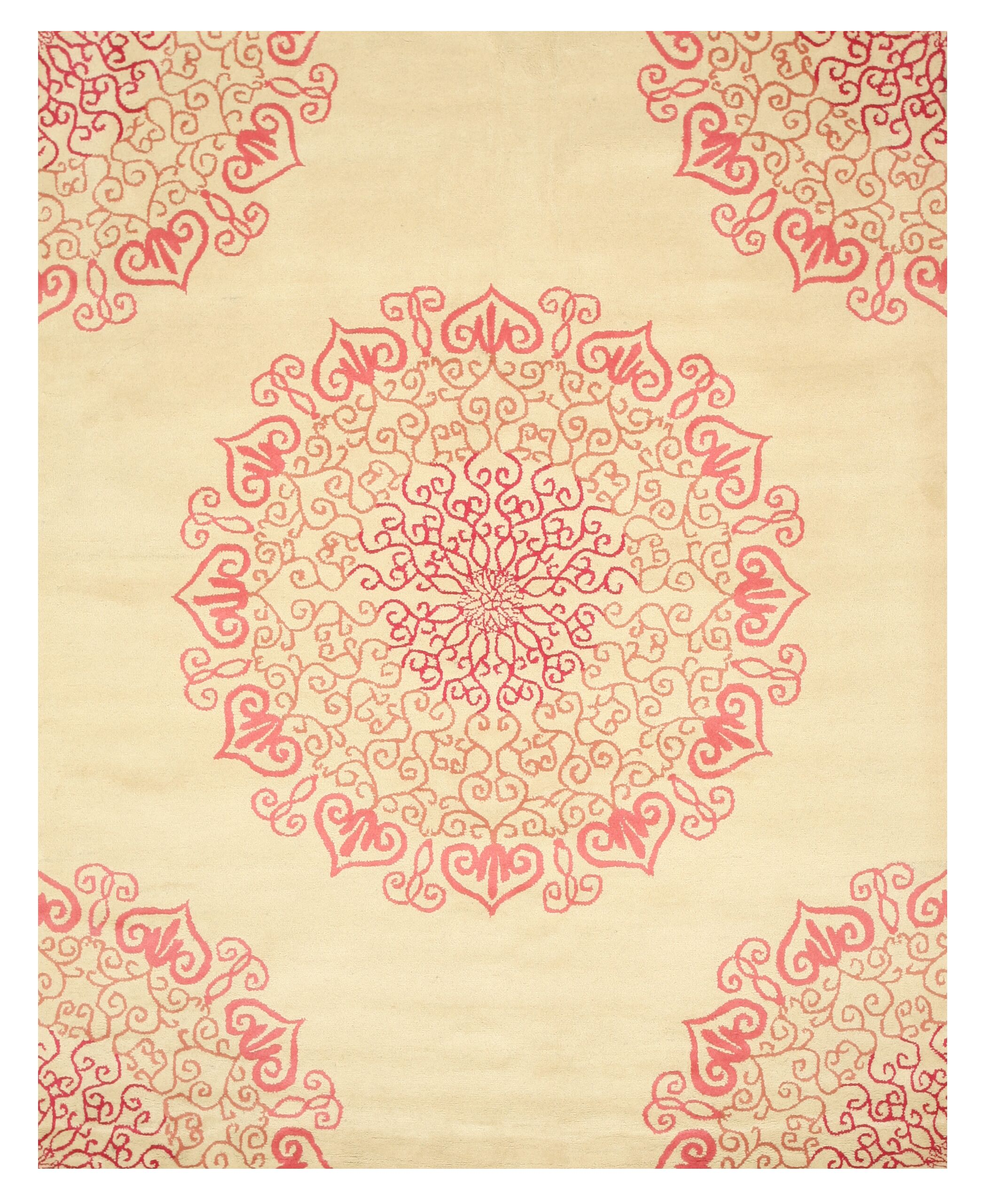 Hand-Woven Ivory/Red Area Rug Rug Size: Rectangle 7'9