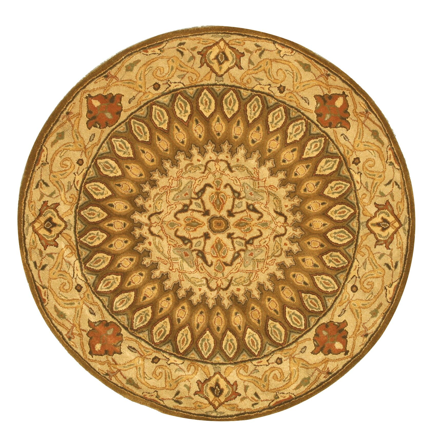 Hand-Tufted Brown Area Rug Rug Size: Round 6'