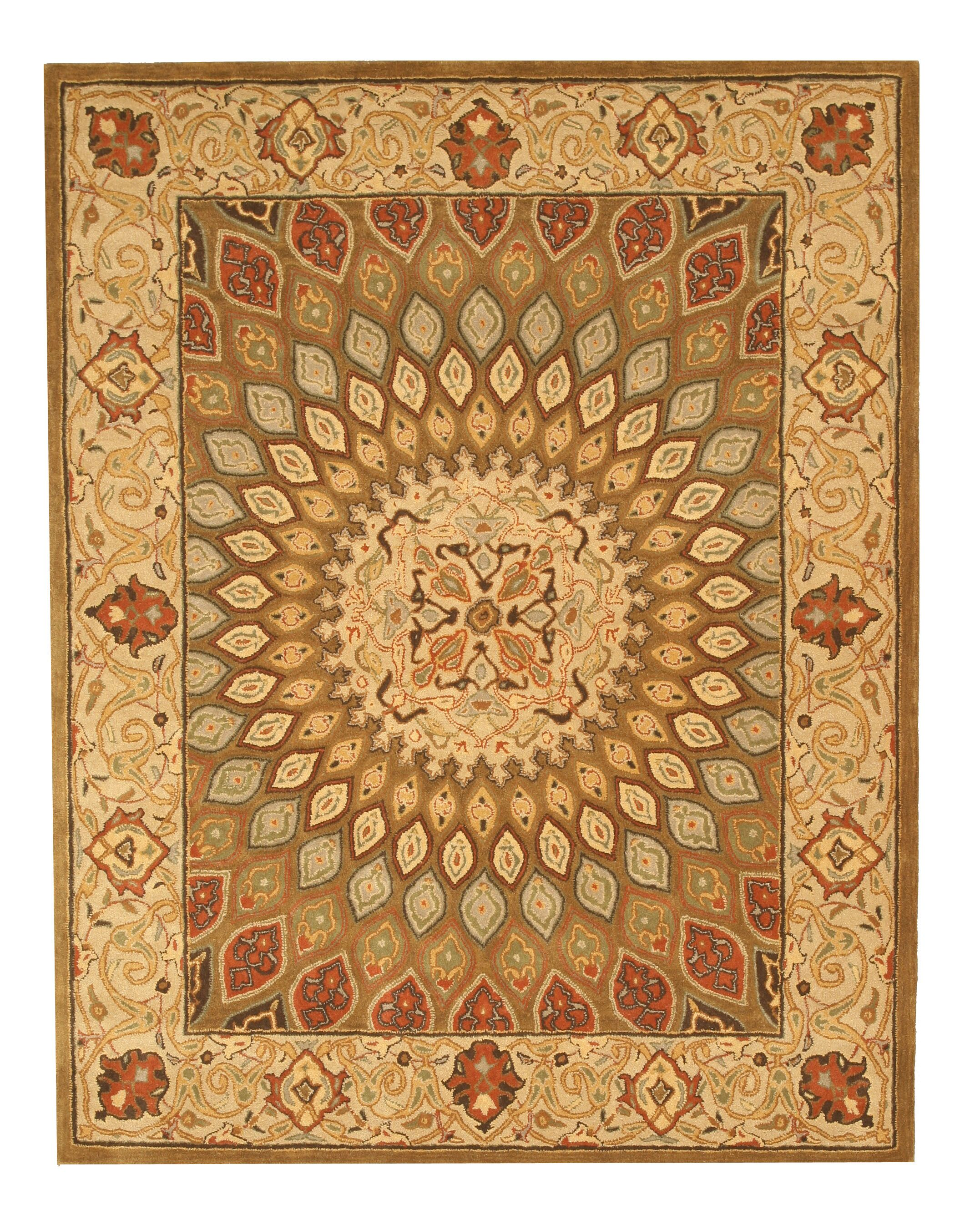 Hand-Tufted Brown Area Rug Rug Size: Rectangle 8'9