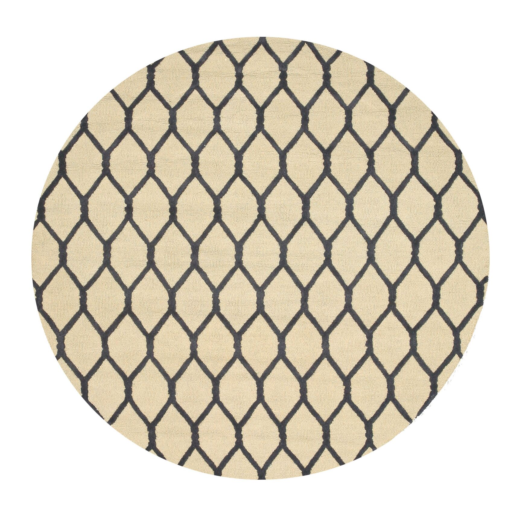 Hand-Tufted Ivory Area Rug Rug Size: Round 4'