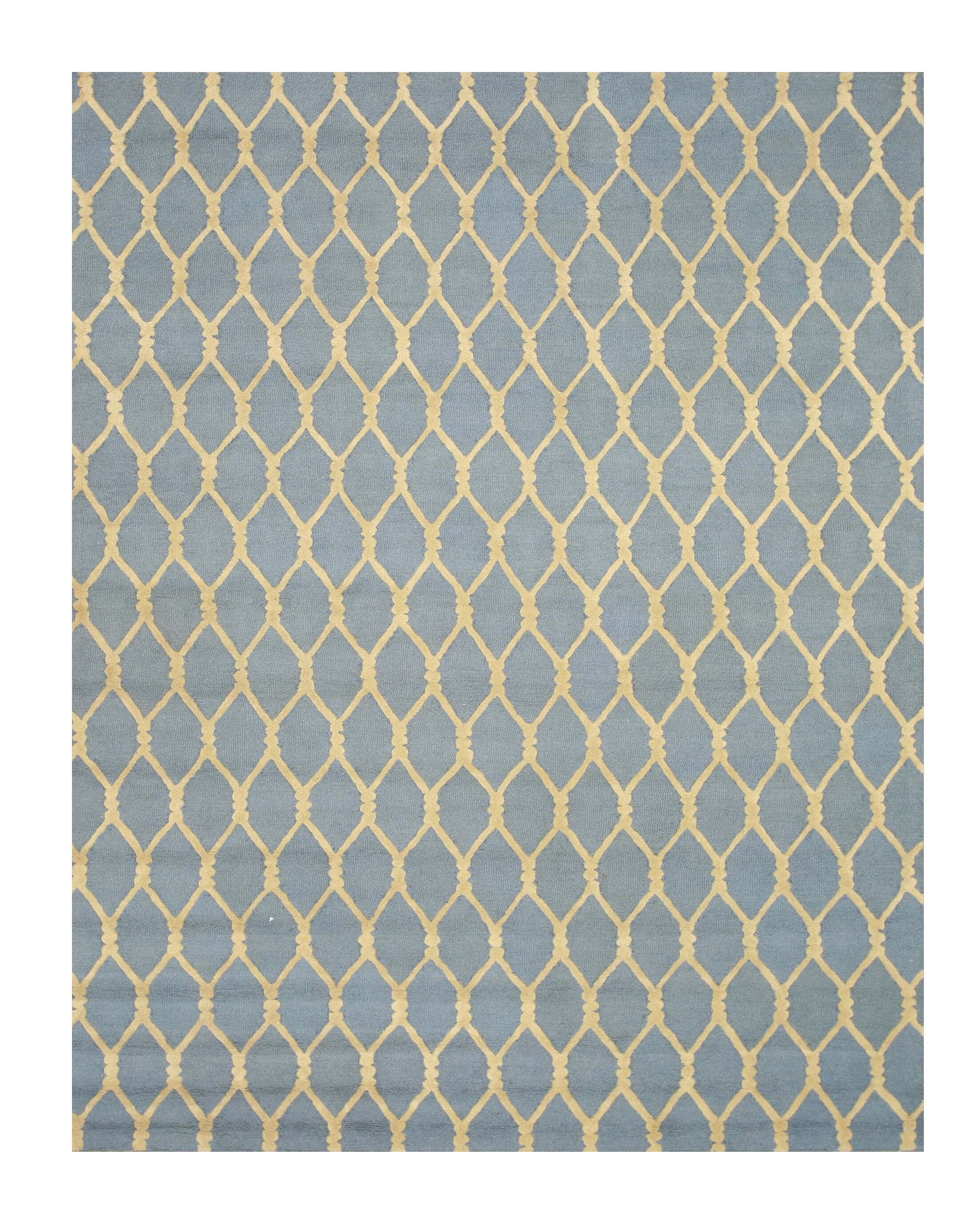Hand-Tufted Blue Area Rug Rug Size: Rectangle 8'9