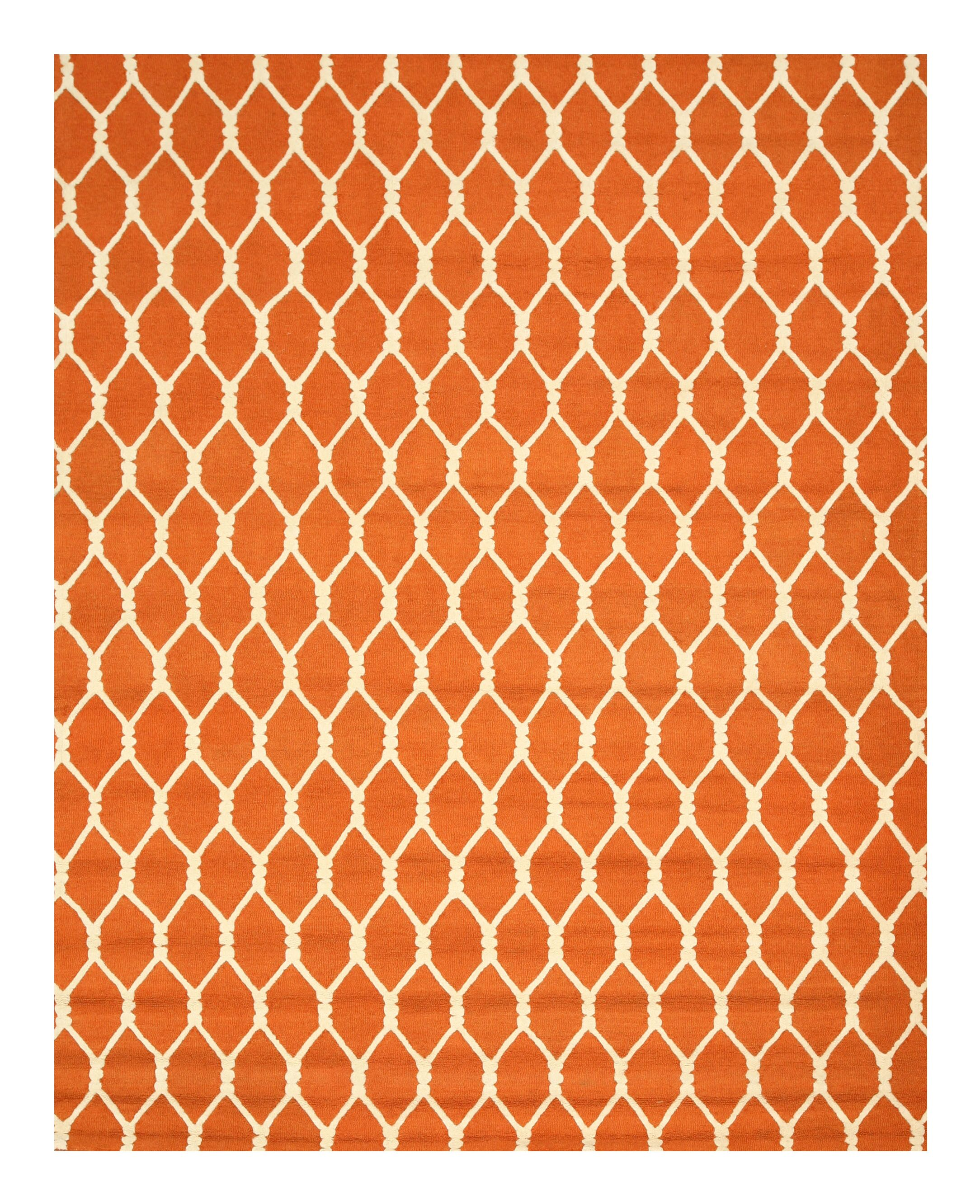 Hand-Tufted Orange Area Rug Rug Size: Rectangle 7'9