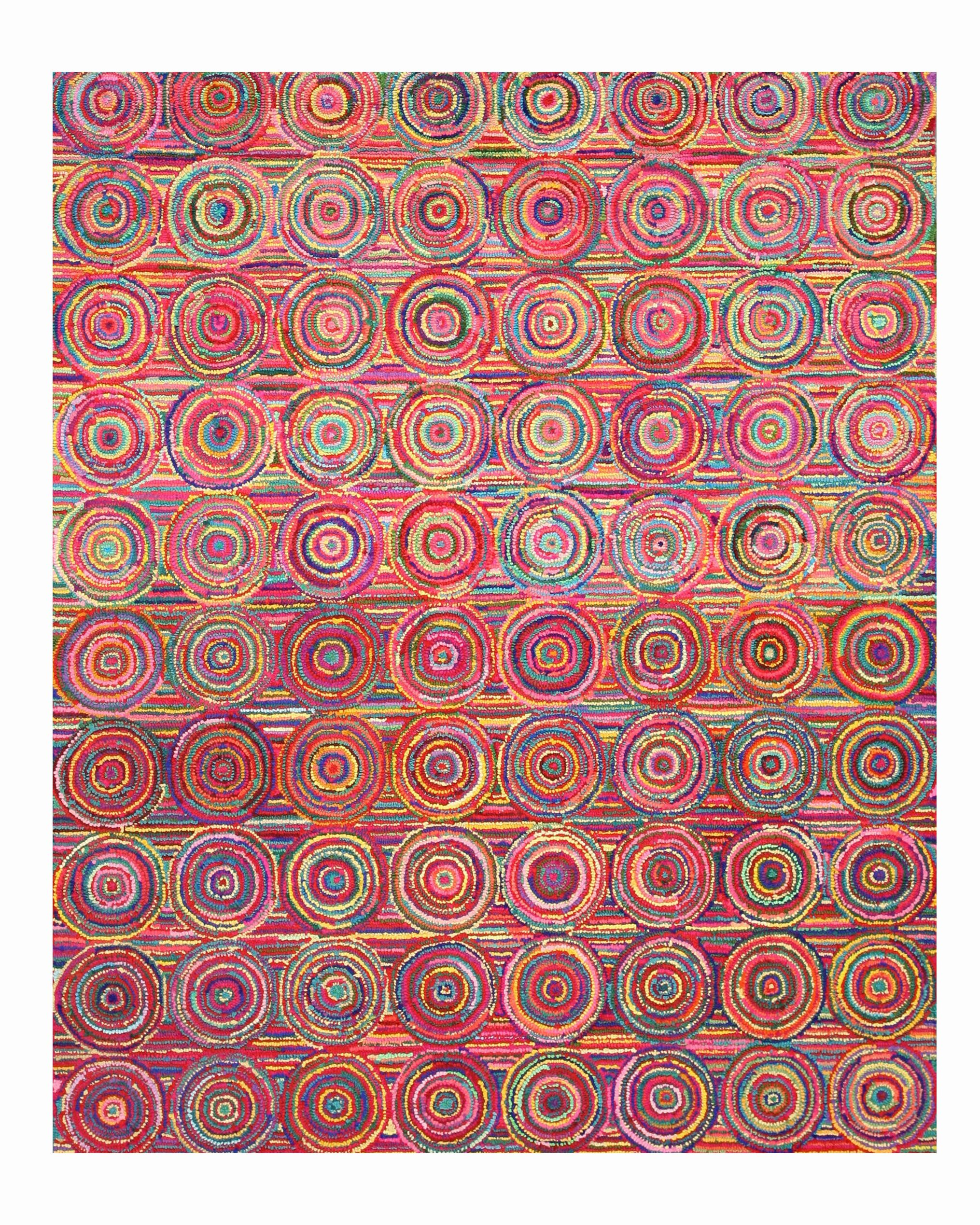Hand-Tufted Pink / Yellow Area Rug Rug Size: 5' x 8'