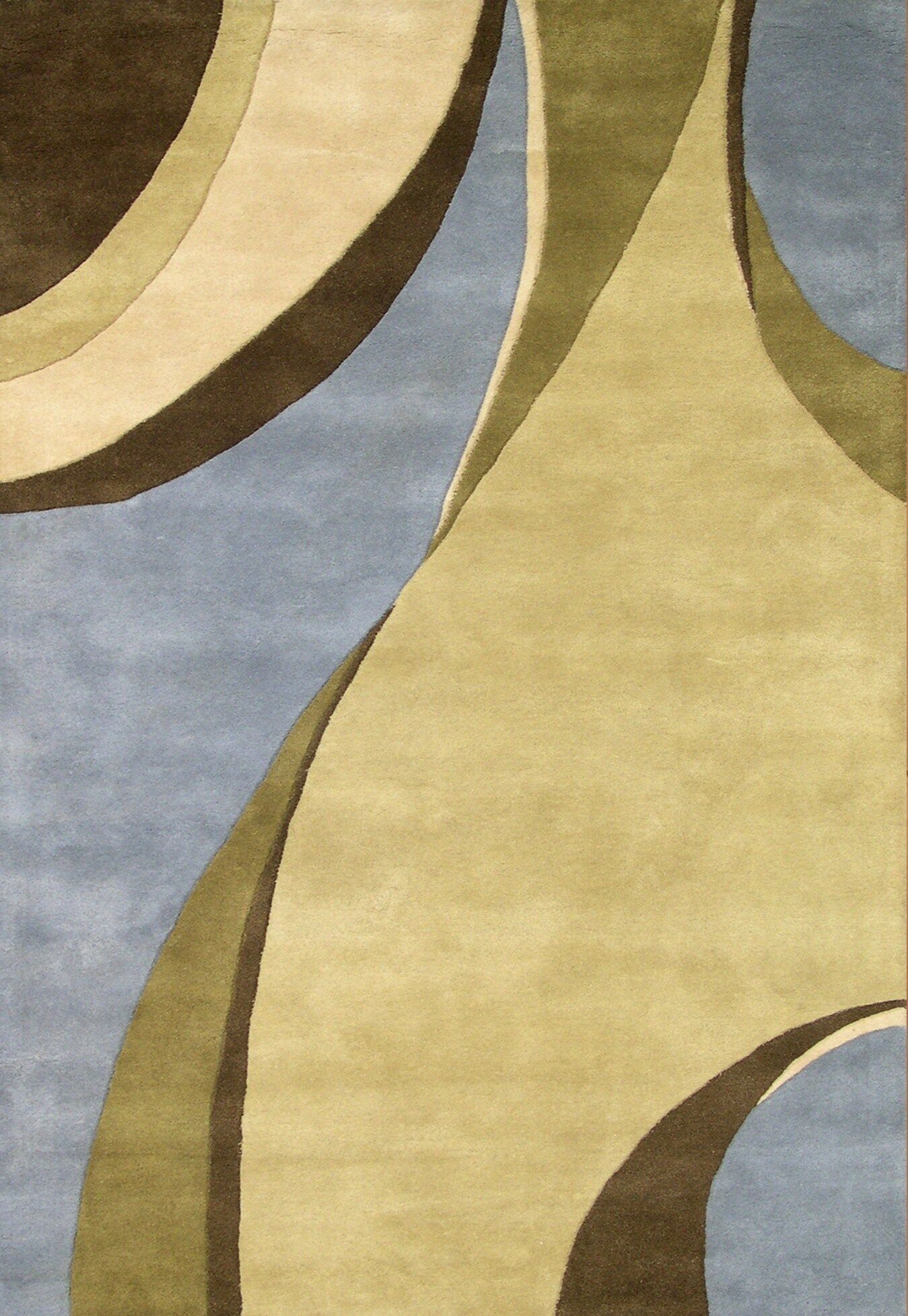 Hand-Tufted Blue / Beige Area Rug Rug Size: Rectangle 8' x 10'