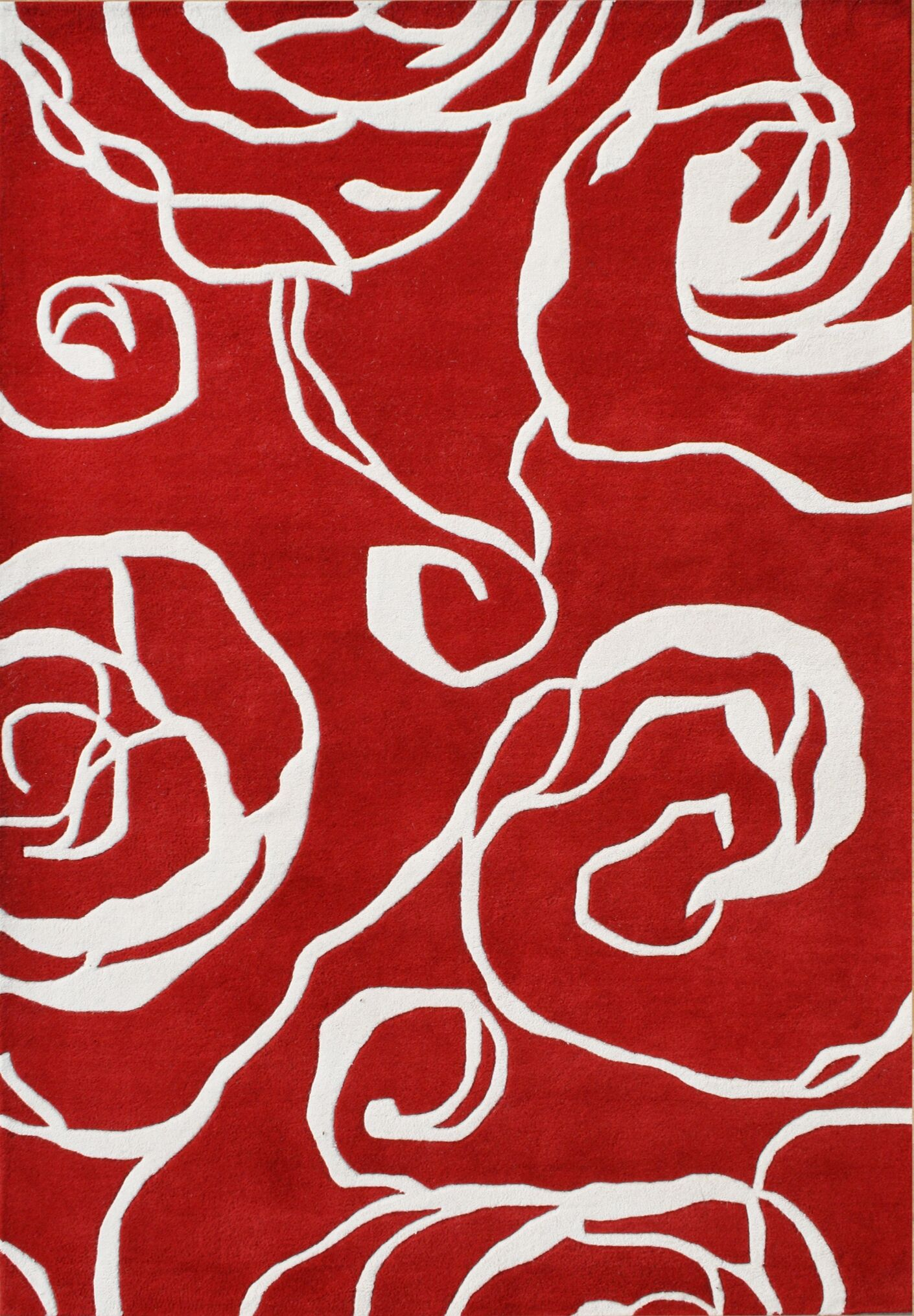 Nonpareil Hand-Tufted Red Area Rug Rug Size: 5' x 8'