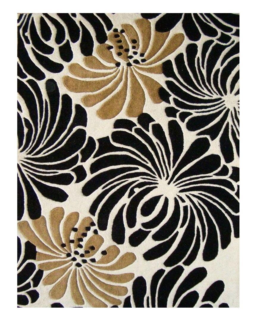 Norwood Hand-Tufted Beige/Black Area Rug Rug Size: Rectangle 8' x 10'