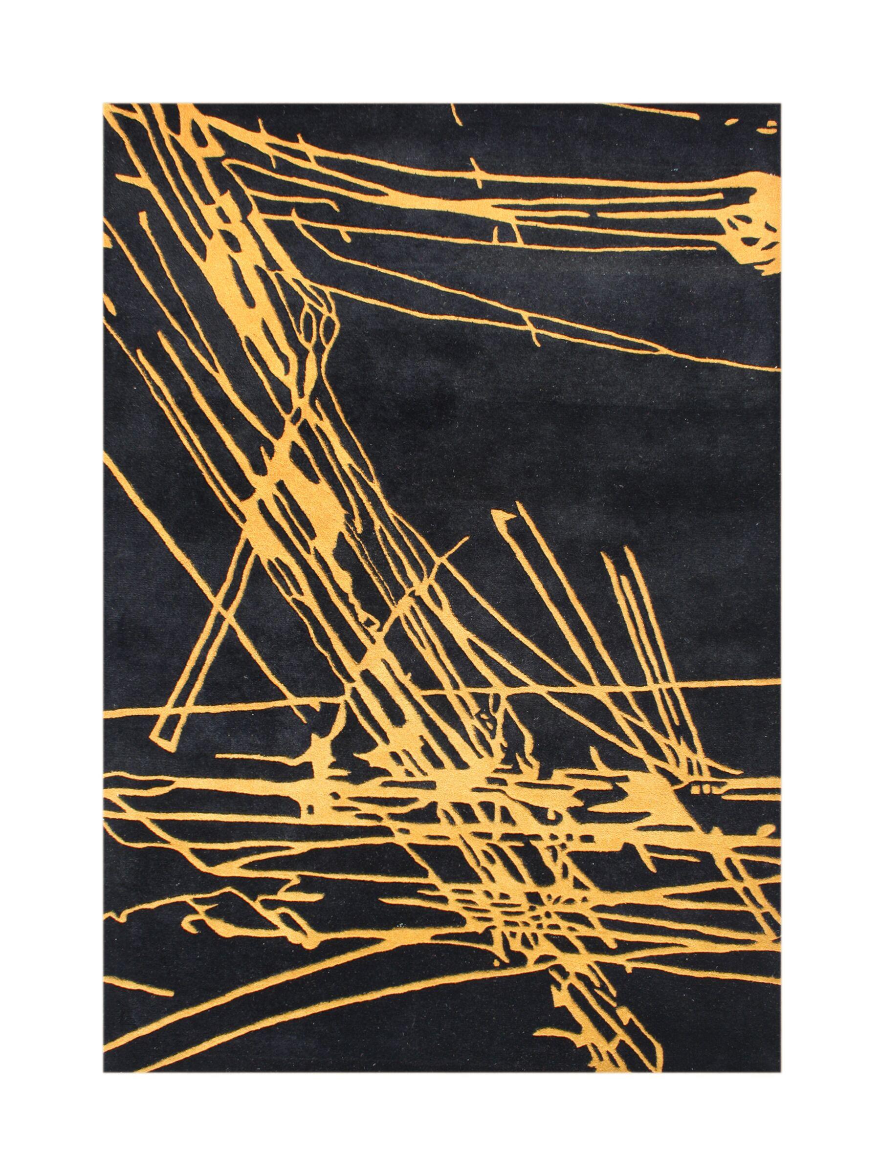 Sunnyside Hand-Tufted Black/Yellow Area Rug Rug Size: Rectangle 5' x 8'