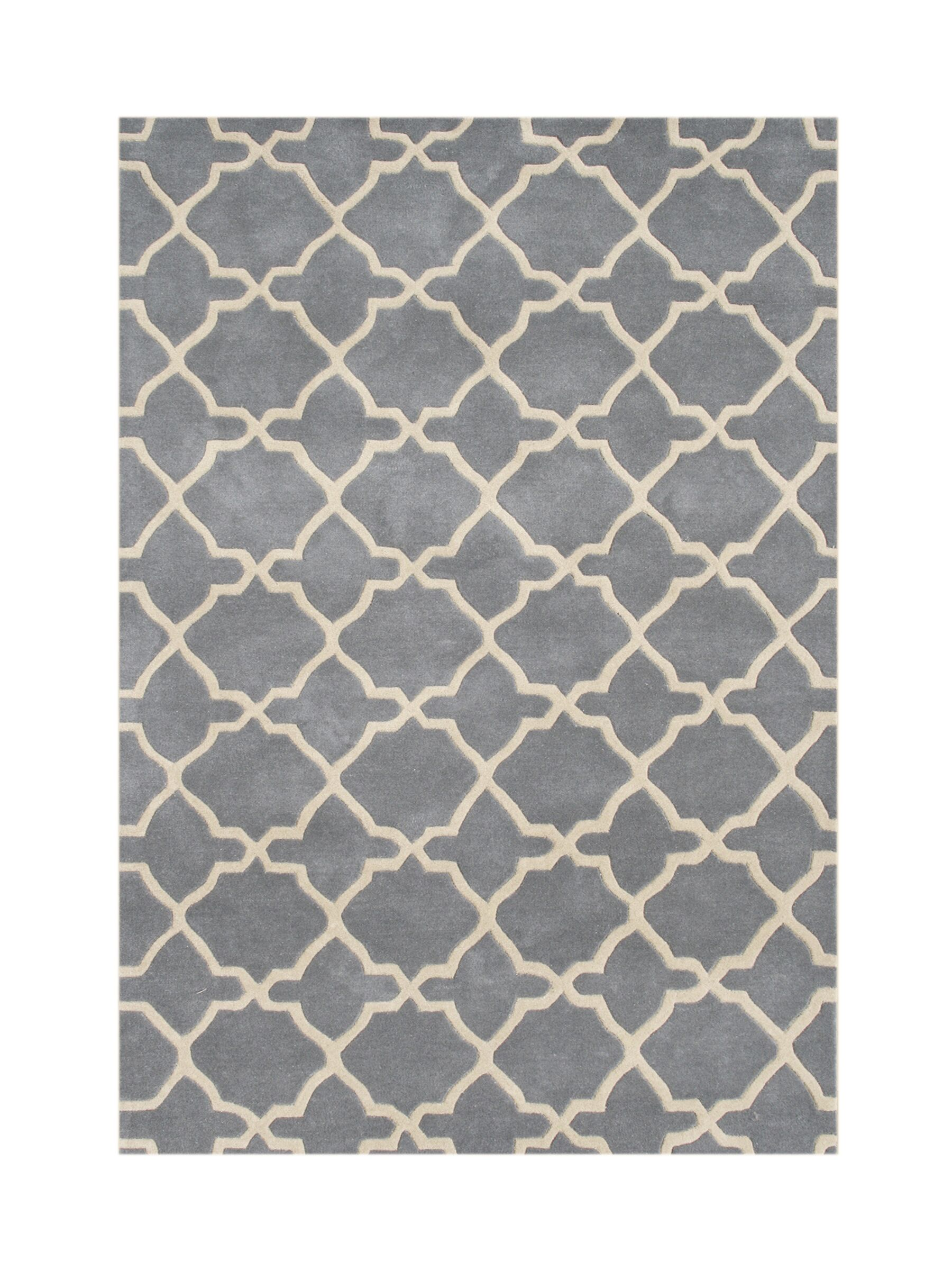 Vale Hand-Tufted Gray/Beige Area Rug Rug Size: Rectangle 8' x 10'